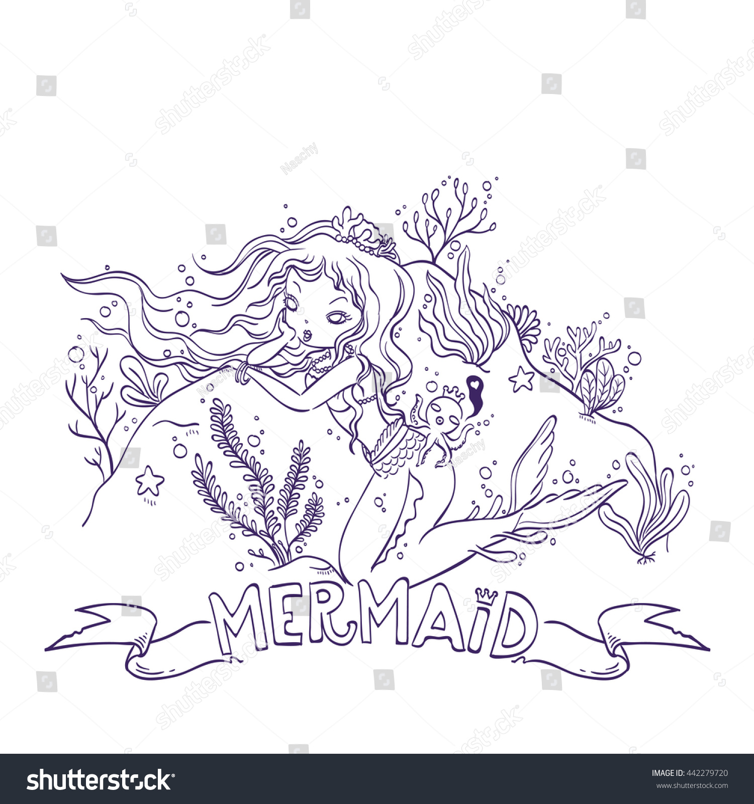 vector illustration mermaid octopus king under stock vector