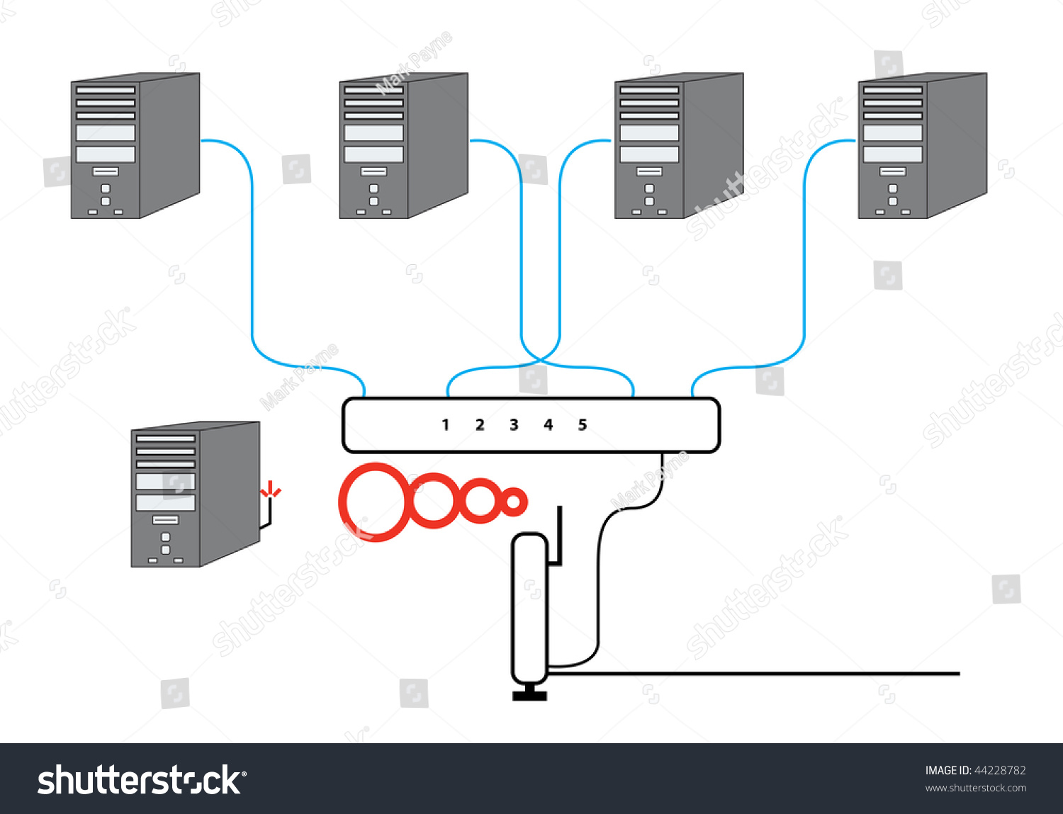 Computer Network Diagram with five PCs Switch Wireless Cable Modem and  Router Vector Illustration. Raster