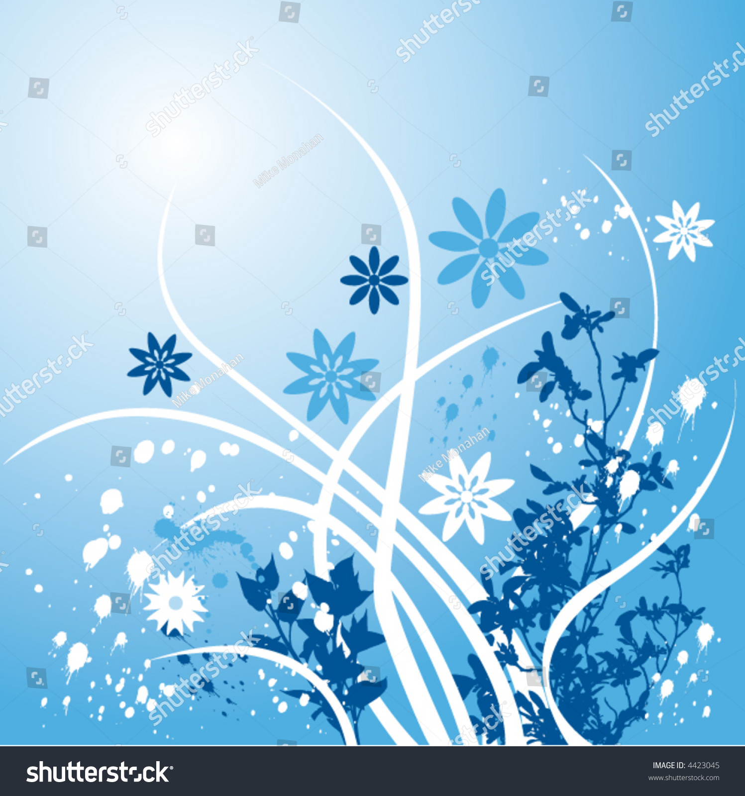 Floral Background Made Shades Blue Stock Vector Royalty Free 4423045