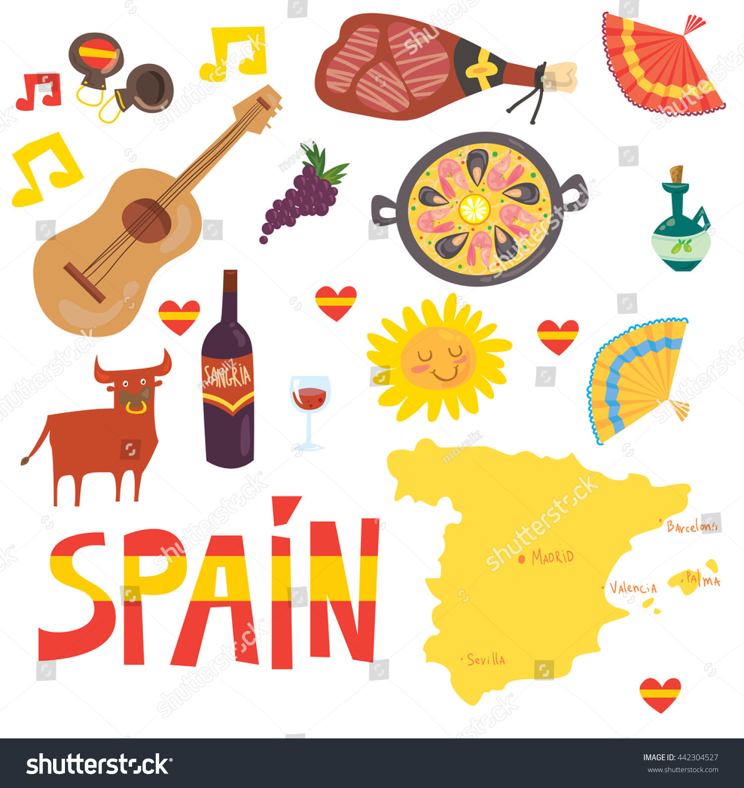 Spain Spanish Touristic Symbols Food Drinks Stock Vector Royalty