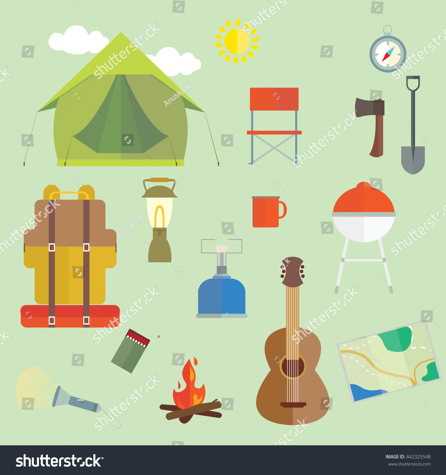 Set Camping Outdoors Hiking Essentials vector Images Stock Vector ...