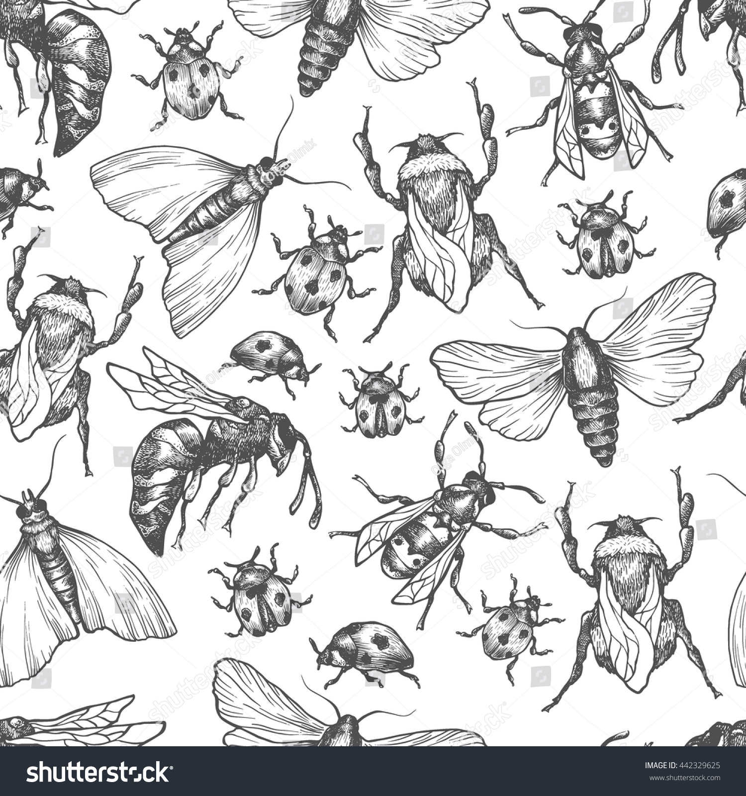 hand drawn vector pattern insects different stock vector 442329625