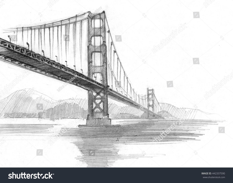 Pencil sketch of san francisco bridge california