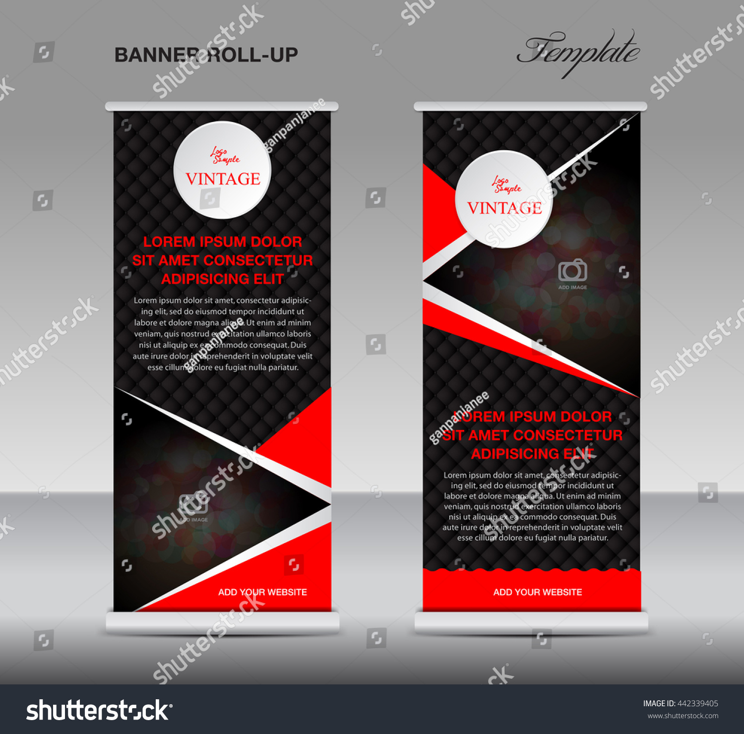 black and red roll up banner stand template vintage poster flyer for