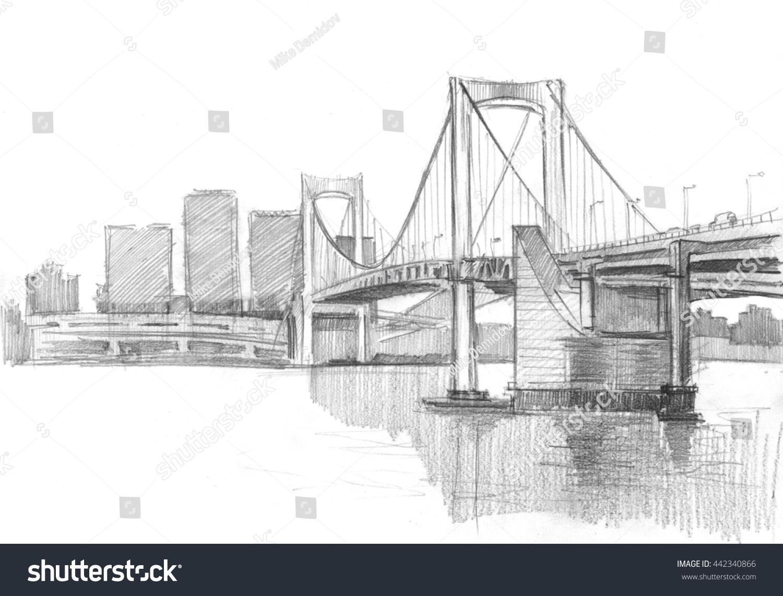Pencil sketch of tokyo bridge 442340866