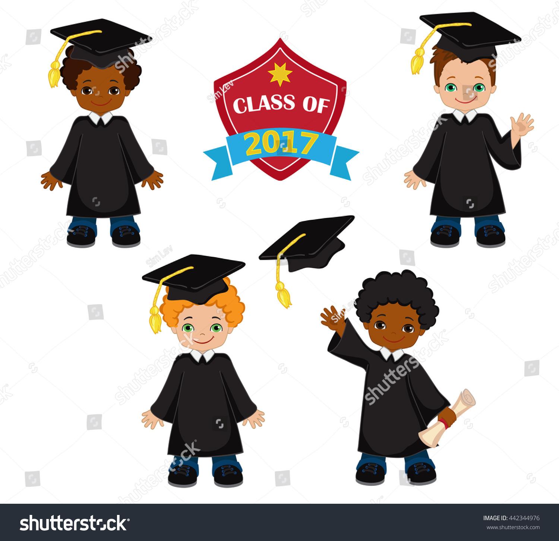 Boys Set Children Graduation Gown Mortarboard Stock Illustration ...