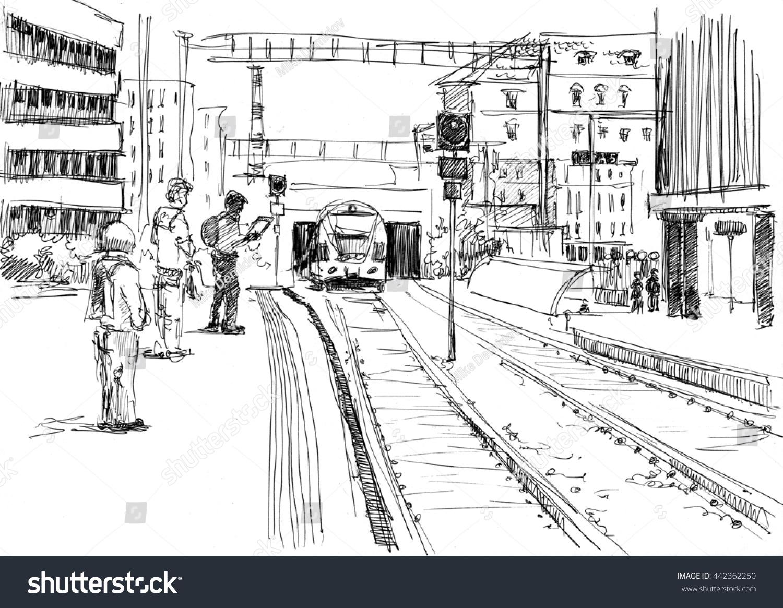 pencil sketch of railway station wwwimgkidcom the