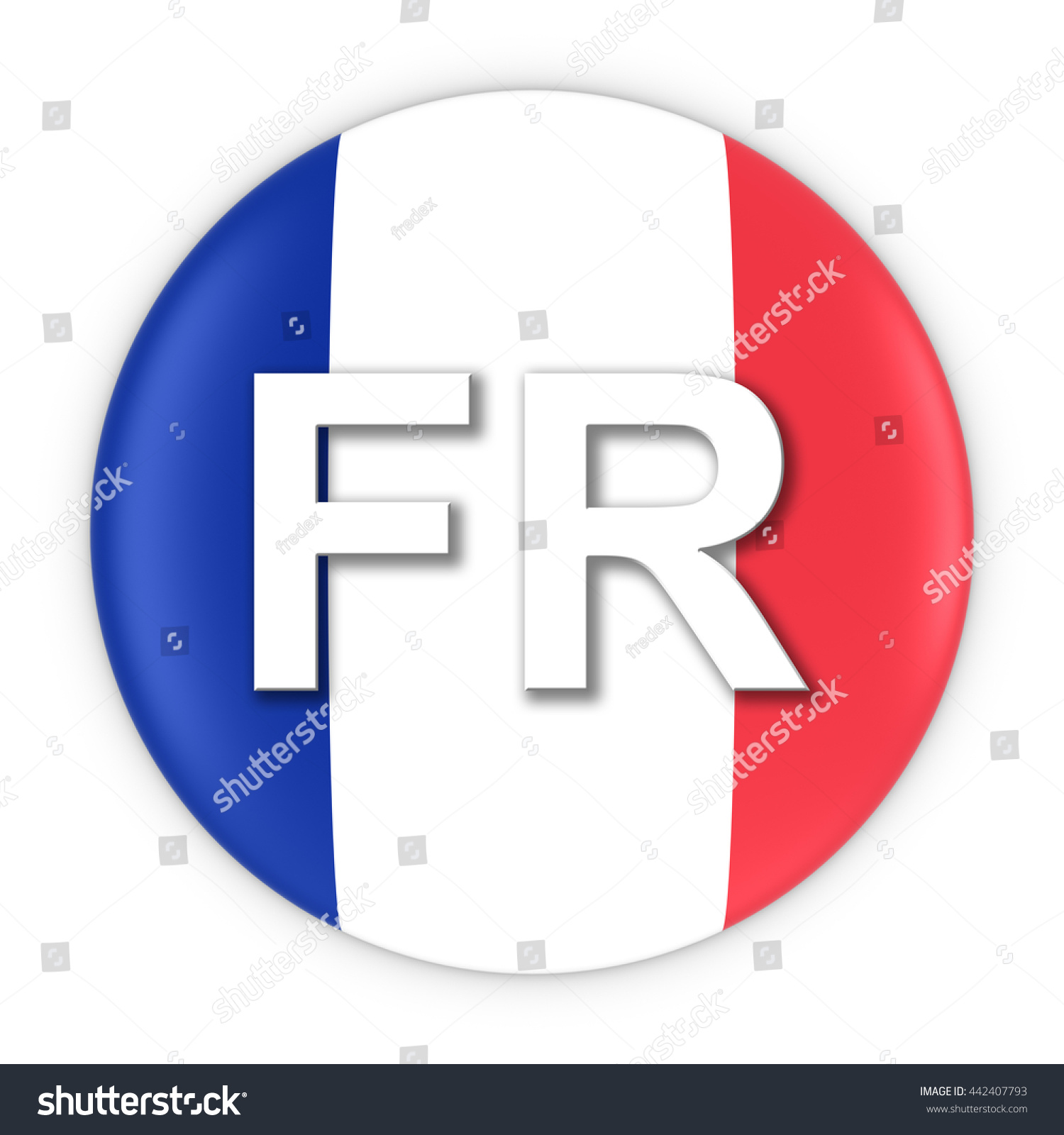 France Flag Button Two Letter Country Stock Illustration