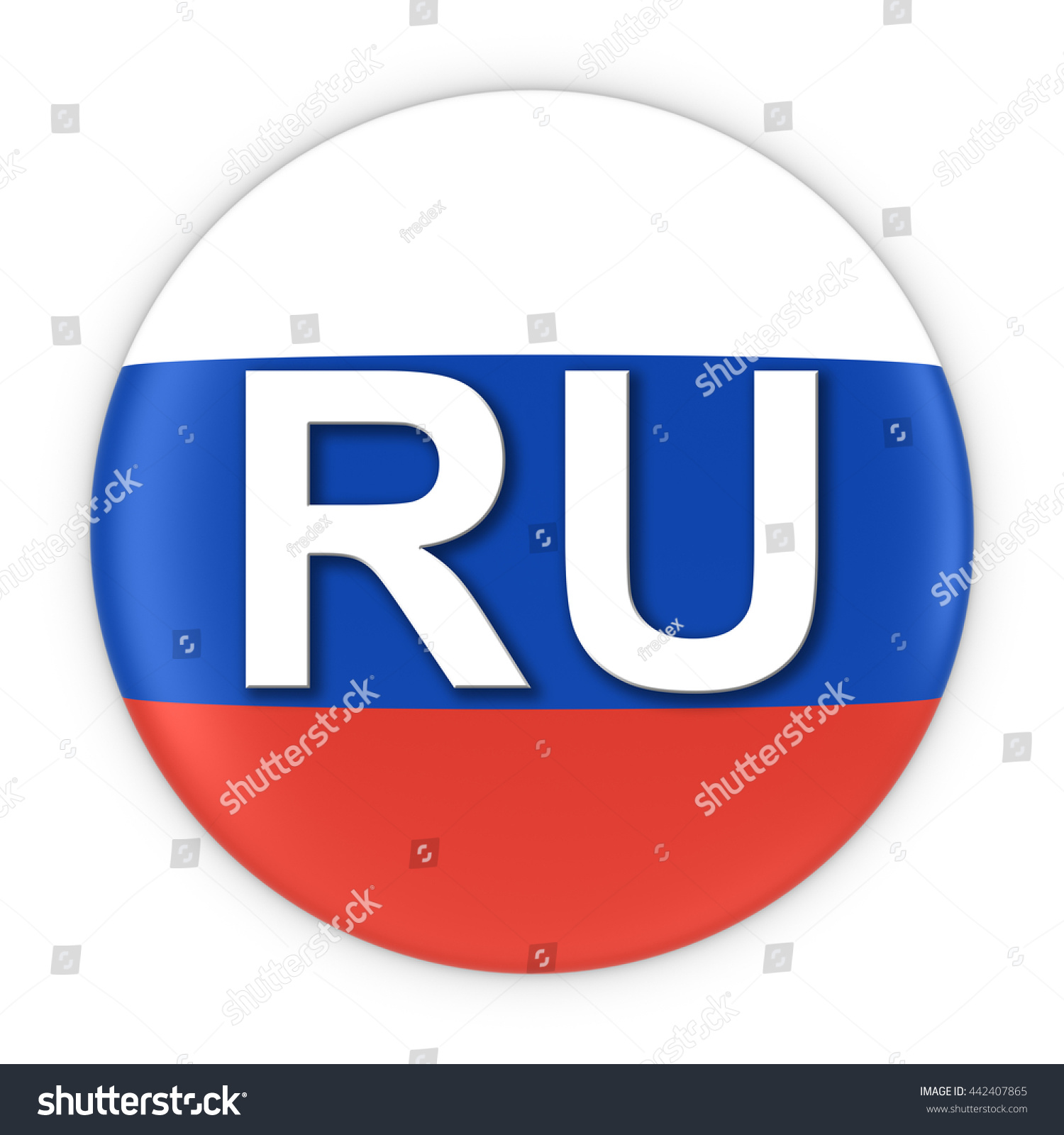 Russia Flag Button Two Letter Country Stock Illustration