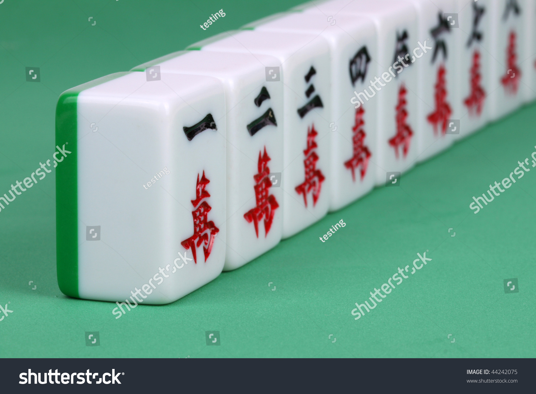 Closeup Mahjong Tiles Aligned Royalty Free Stock Image