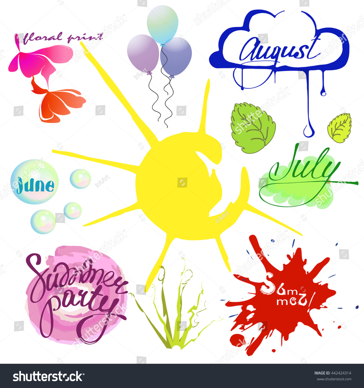 Set summer time june july august stock vector 442424314 shutterstock june july and august design elements for summer design themes buycottarizona Image collections
