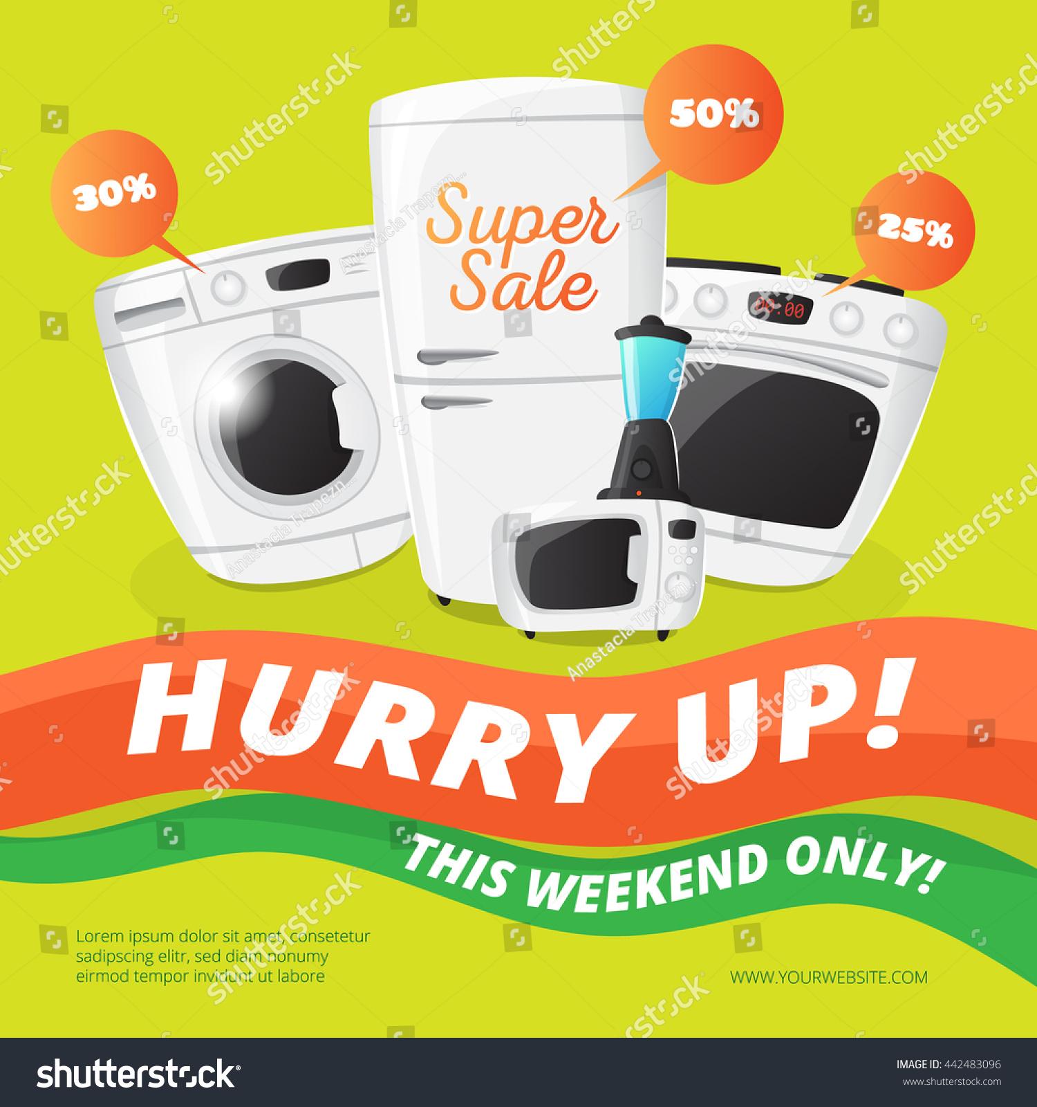 Uncategorized Kitchen Appliances Sale vector electronics discount voucher template bright stock sale banner with kitchen appliances