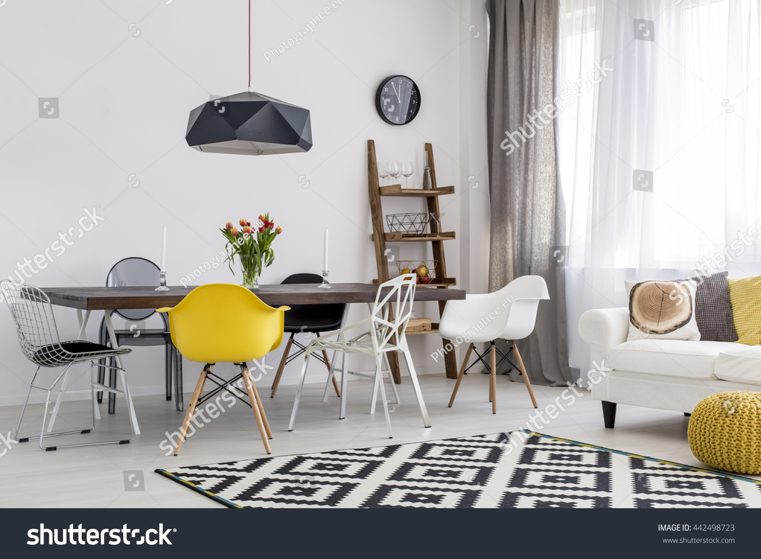 Yellow Accessories For Living Room Shot Of A Black And White Studio Decorated With Yellow Accessories