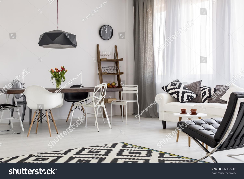 Shot Creative Black White Living Room Stock Photo 442498744 ...
