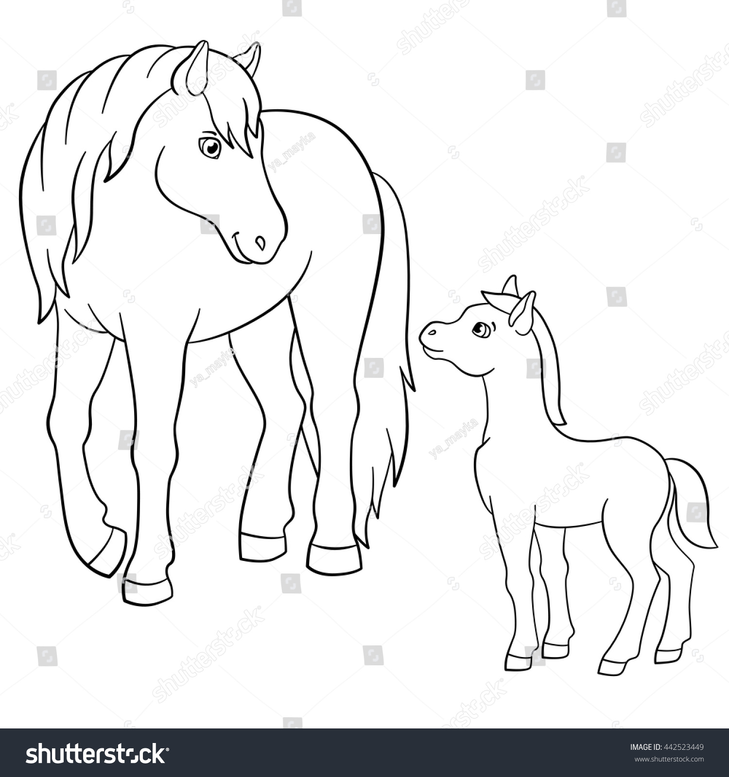 Coloring Pages Farm Animals Mother Horse Stock Vector