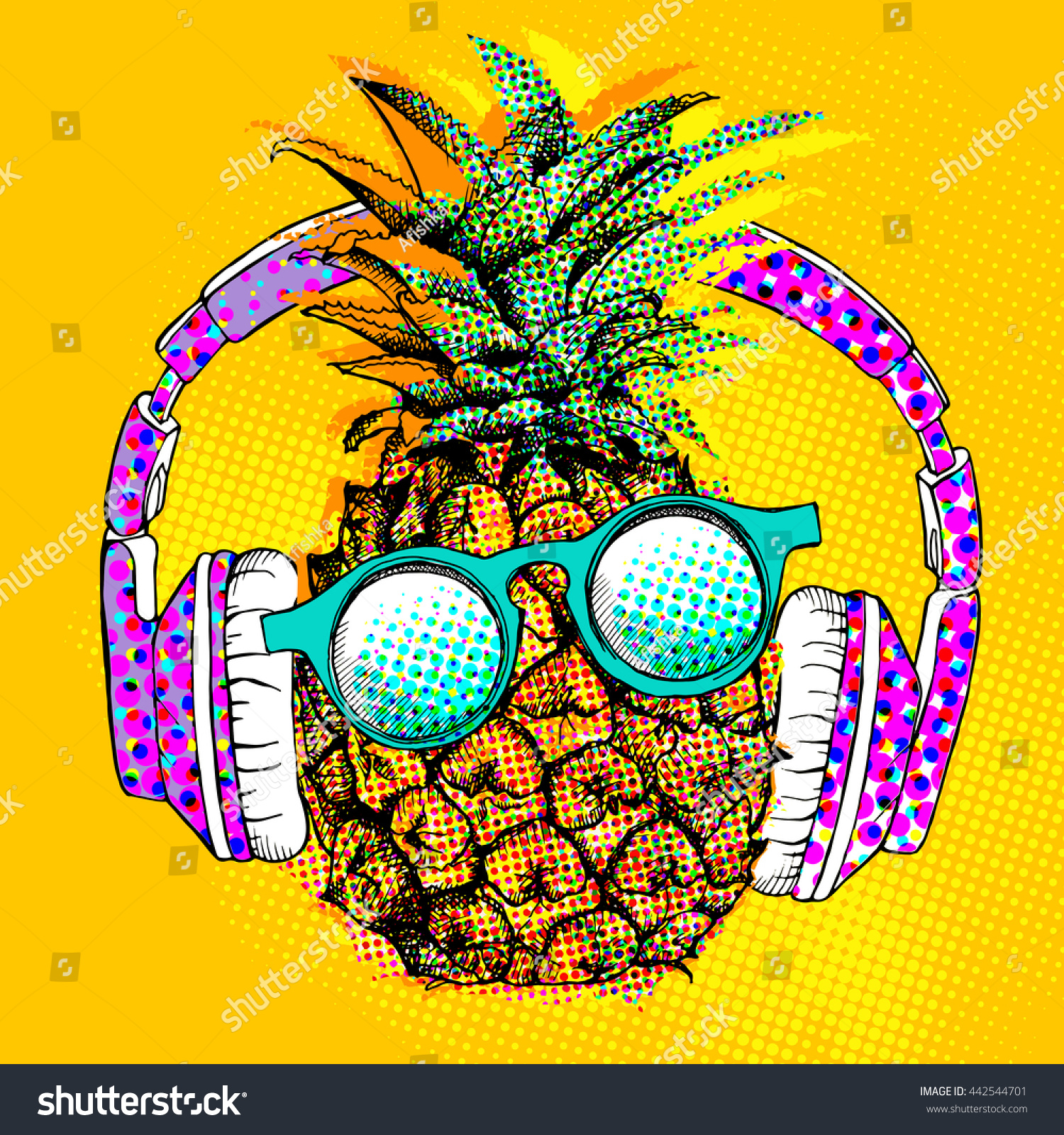 pop art comic poster image pineapple stock vector. Black Bedroom Furniture Sets. Home Design Ideas