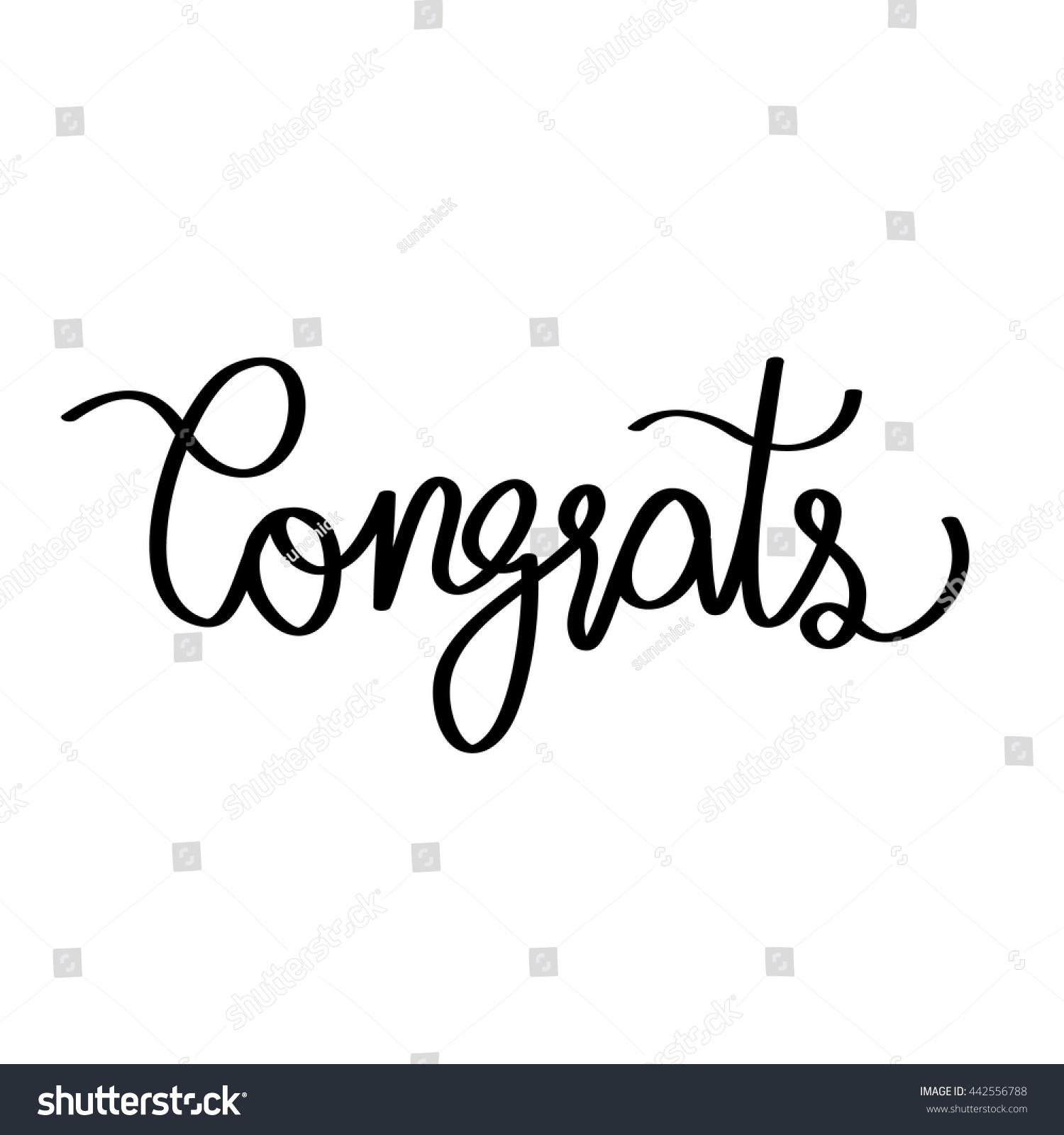 Congrats Modern Calligraphy Congrats Greeting Card Stock
