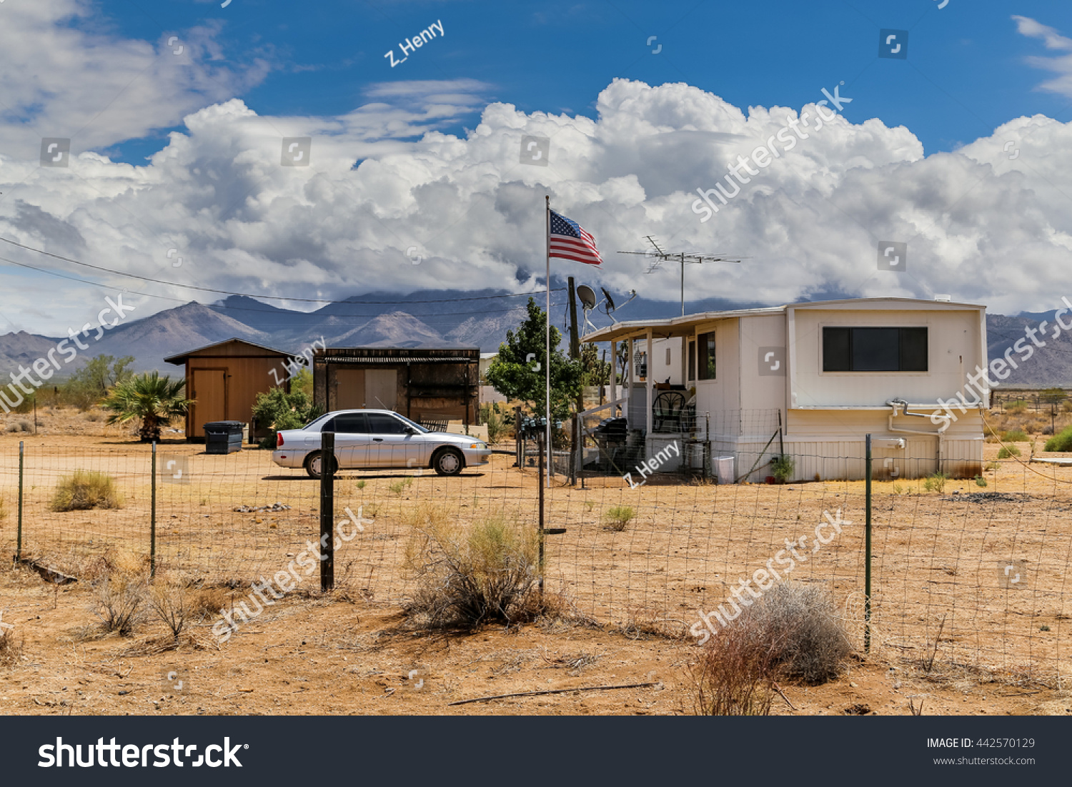 Simple isolated american house along desert stock photo for Simple american house
