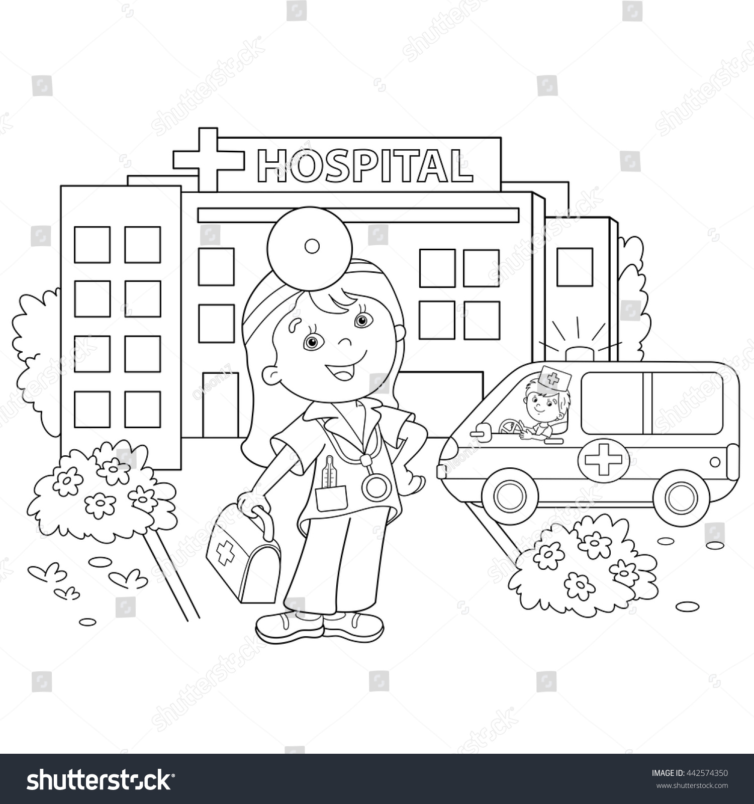 Childrens hospital coloring book - Coloring Page Outline Of Cartoon Doctor With Ambulance Car Near The Hospital Profession Medicine