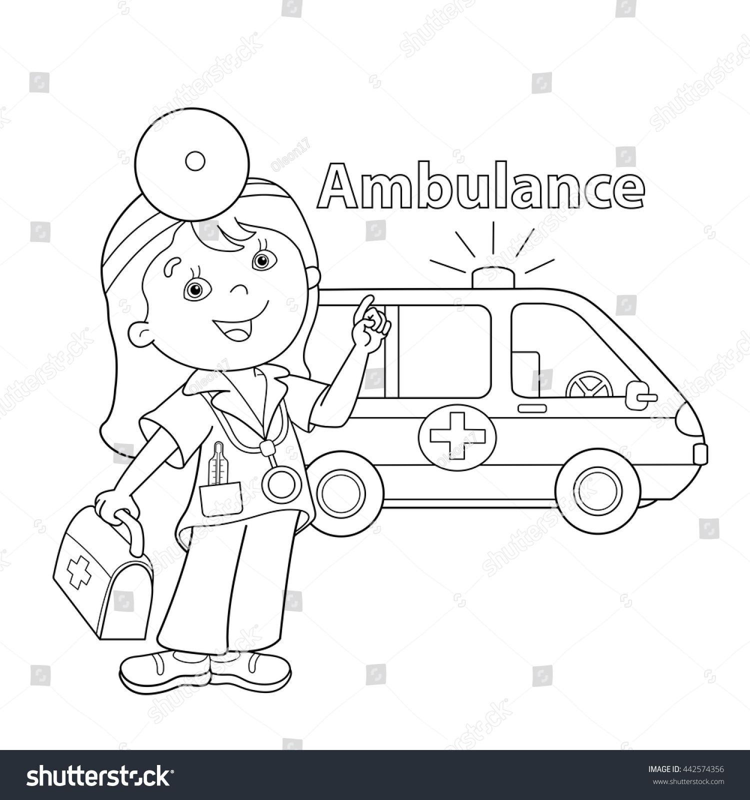 coloring page outline of cartoon doctor with first aid kit ambulance car profession