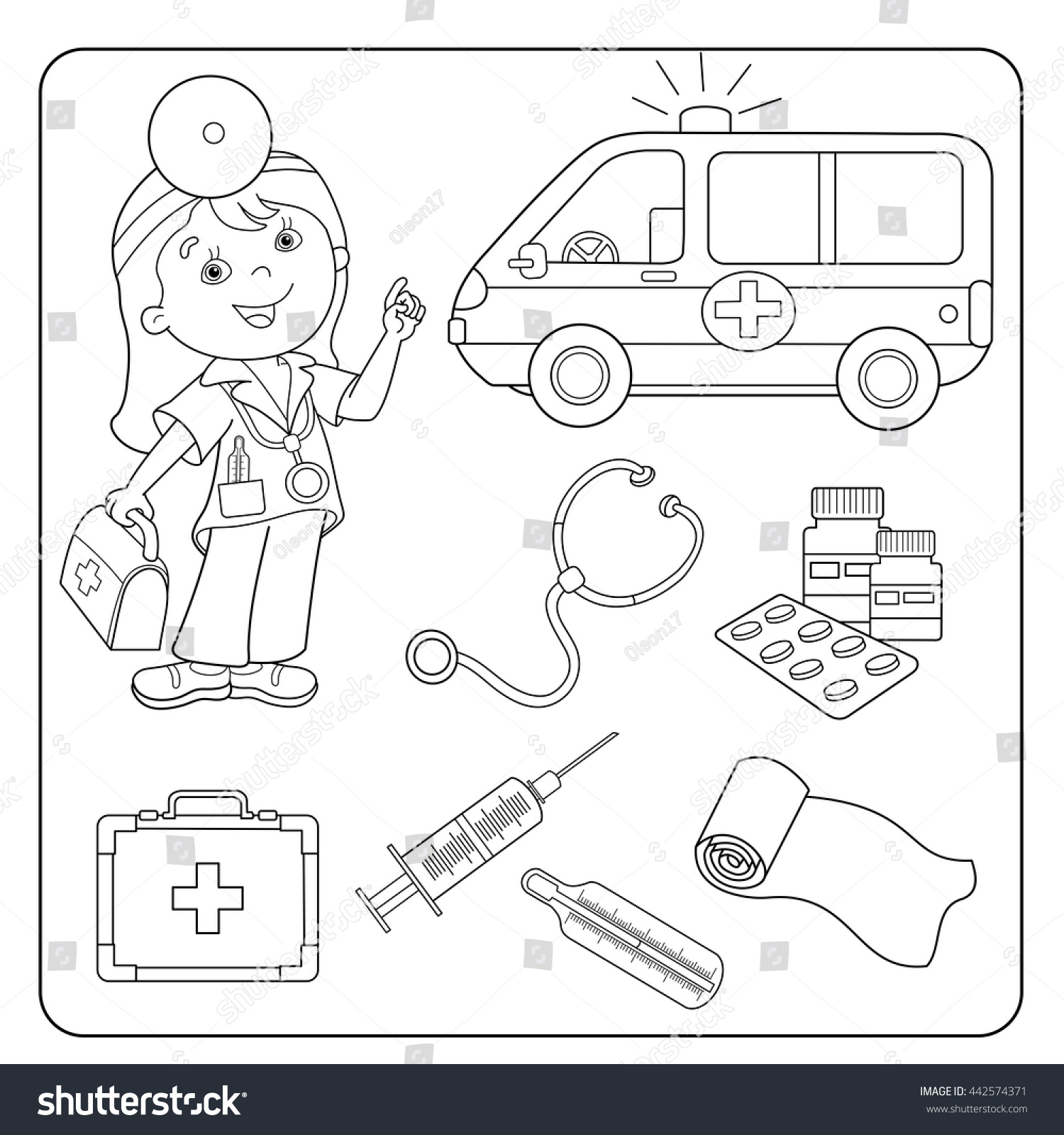 coloring page outline of cartoon doctor with first aid kit ambulance car set of - Aid Coloring Pages Kids