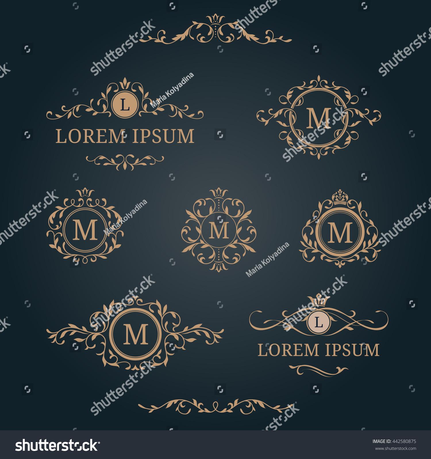 Elegant Floral Monograms Borders Design Templates Stock Illustration ...