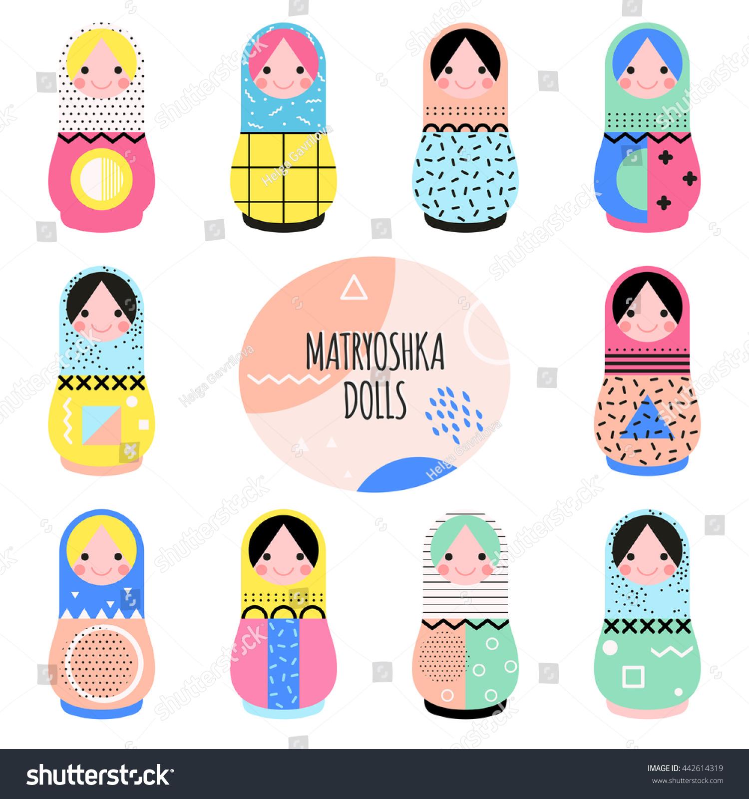 set cute matryoshka dolls trendy memphis stock vector 442614319