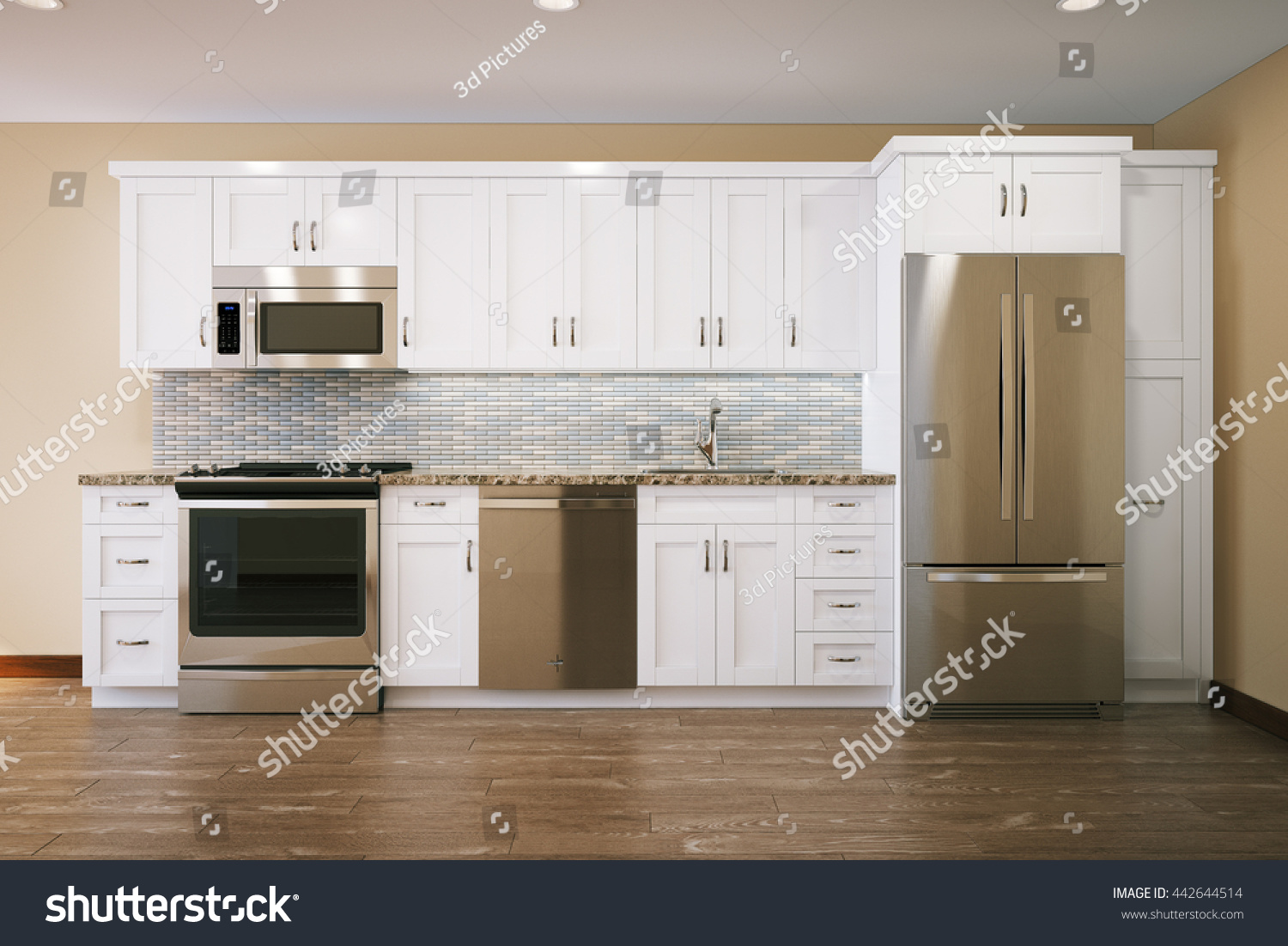 Parquet Flooring Kitchen White Furniture Kitchen Interior Design Parquet Stock Illustration