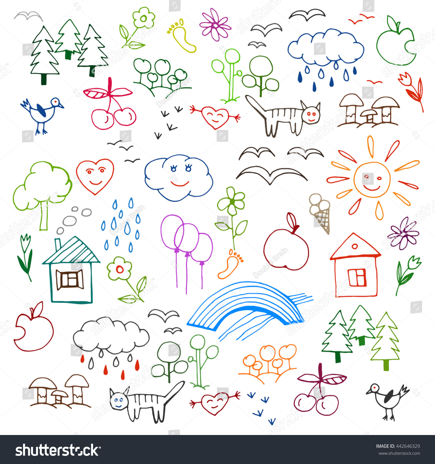 Beautiful Children Drawings Pattern Bright Colours Stock Vector ...