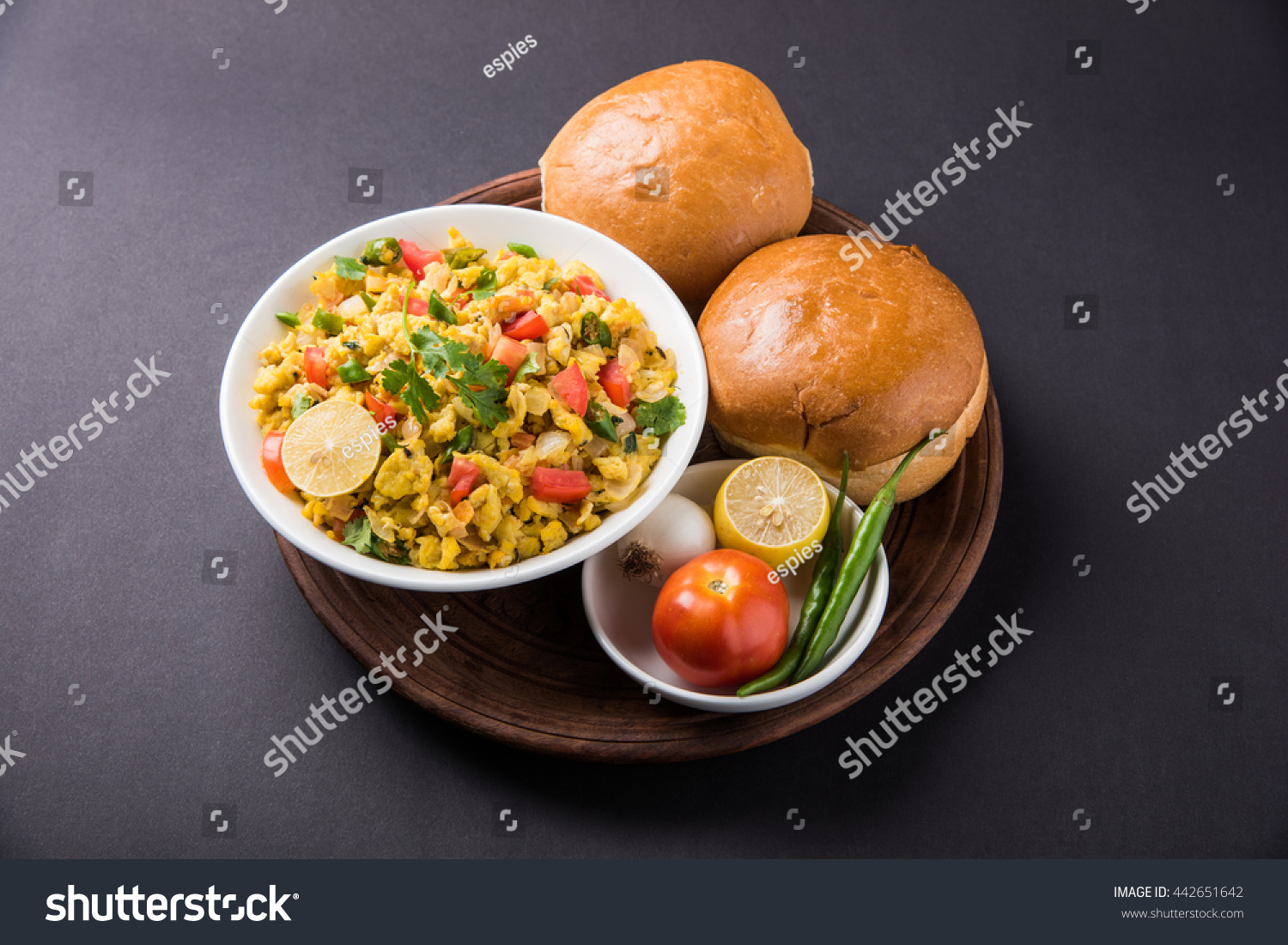 Egg bhurji or Spicy scrambled eggs with bread slices or pav or paav ...