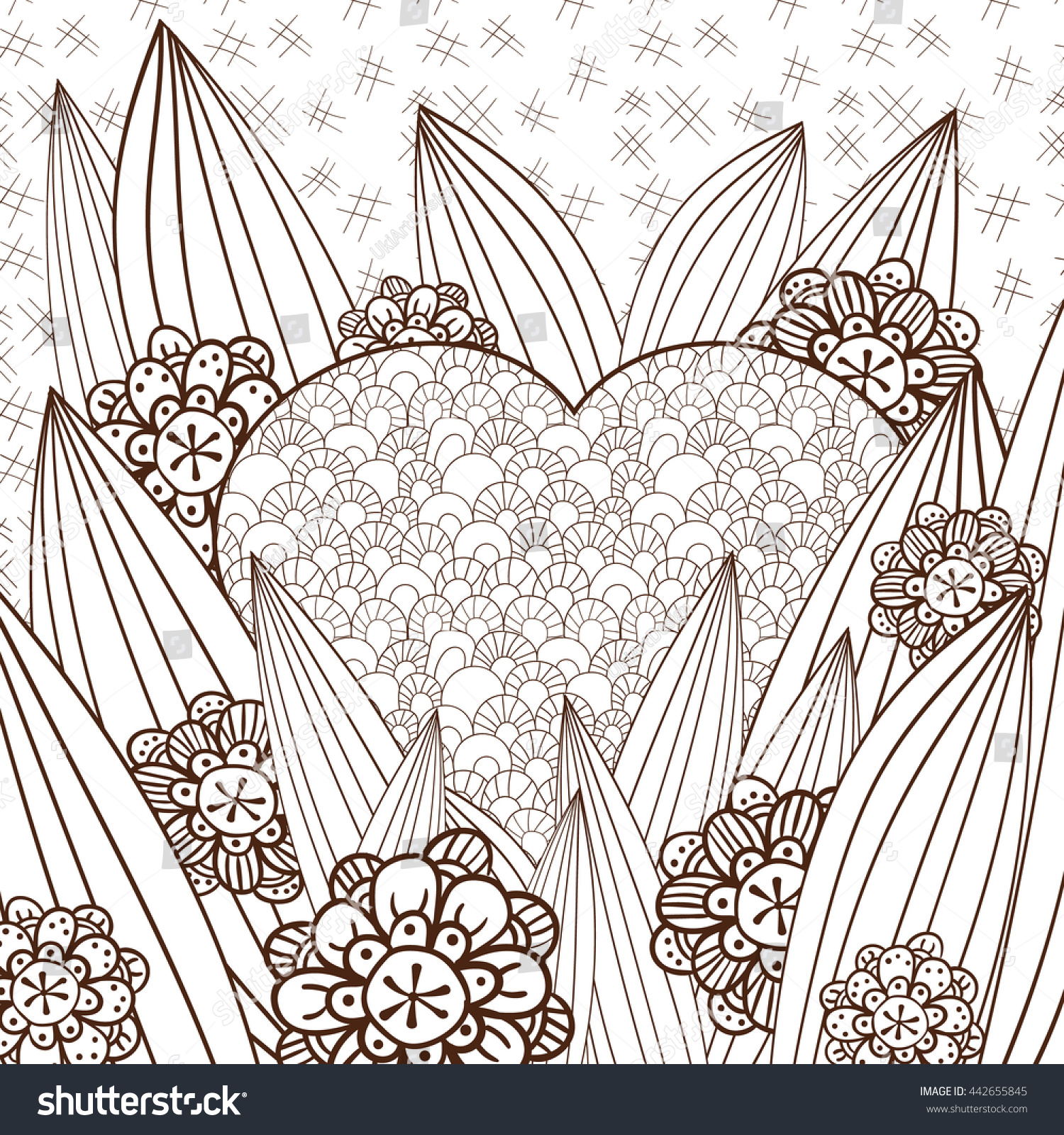 Whimsical designs coloring book - Adult Coloring Page Heart In Whimsical Garden Hand Drawn Illustration For Colouring Book