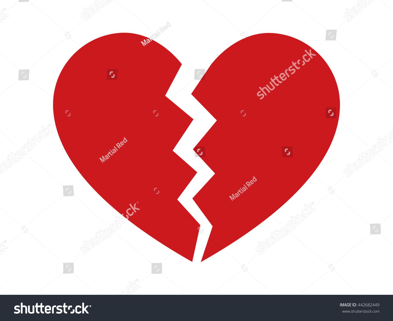 Red heartbreak broken heart divorce flat stock vector 442682449 red heartbreak broken heart or divorce flat icon for apps and websites biocorpaavc Images
