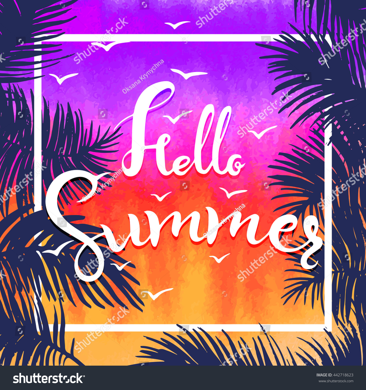 Watercolor Hello Summer Hand Lettering Vector,background. Colors Of Sunset  ,twilight. Fun