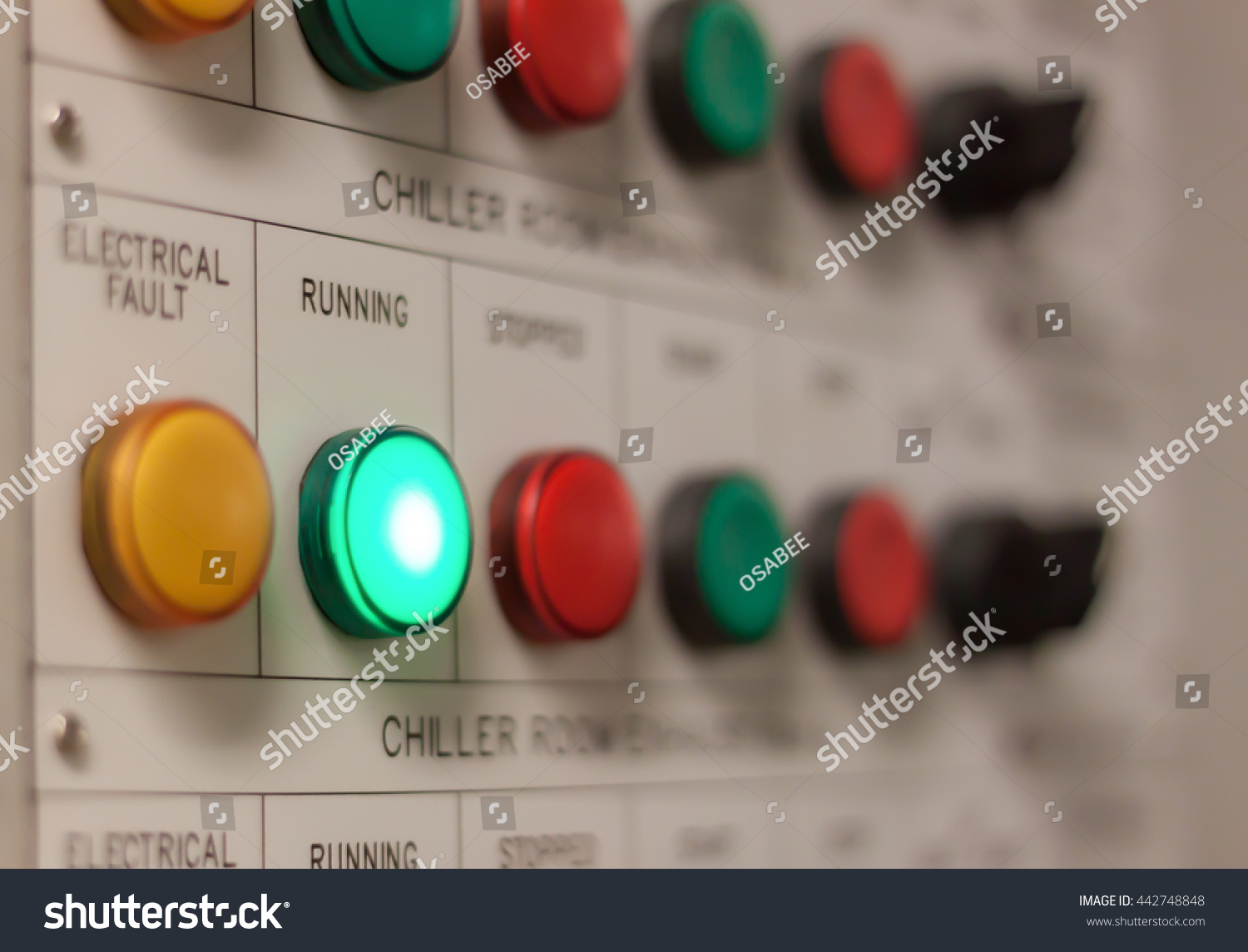 Soft Focus Industrial Background The Electrical Running Engine Lighting On Control Panel Board