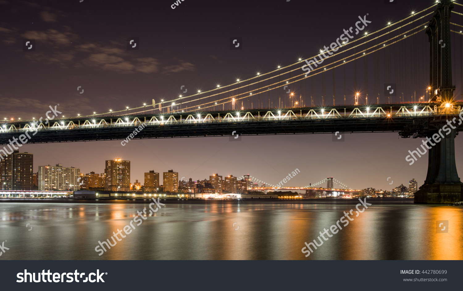suspension bridges new york city stock photo 442780699 shutterstock. Black Bedroom Furniture Sets. Home Design Ideas