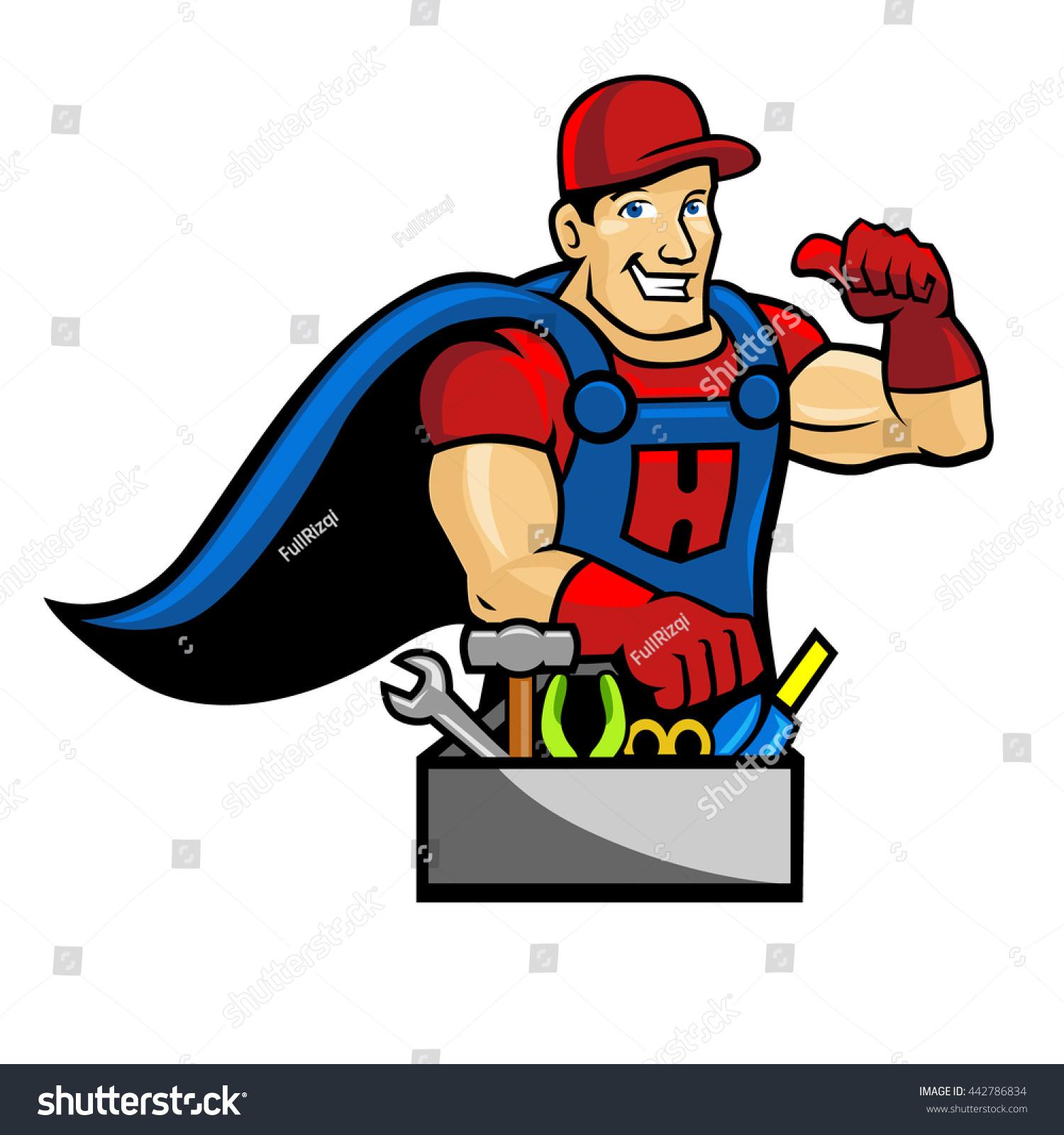 handyman character super handyman stock vector 442786834