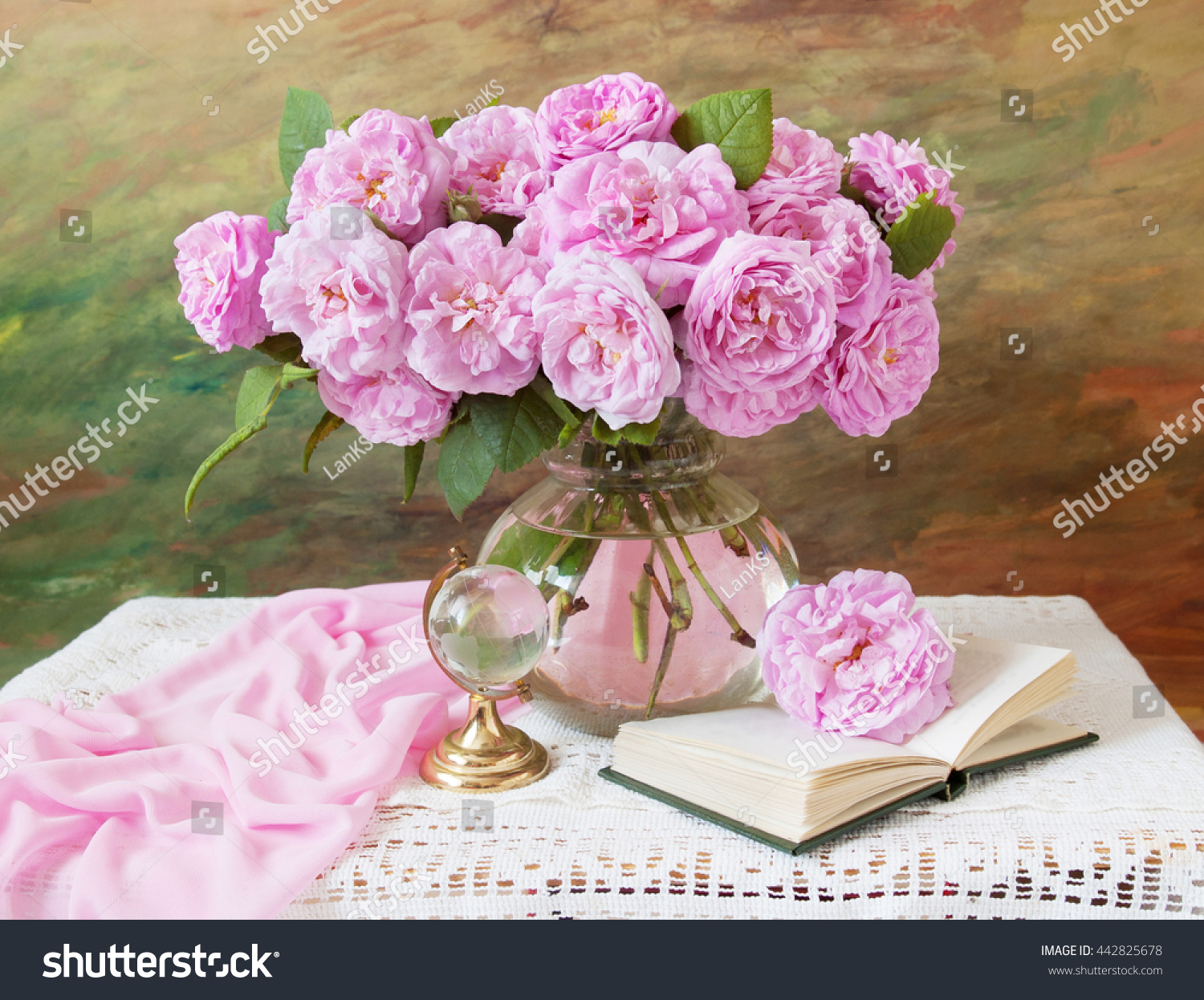 Still Life Bunch Pink Rose Flowers Stock Photo Edit Now 442825678