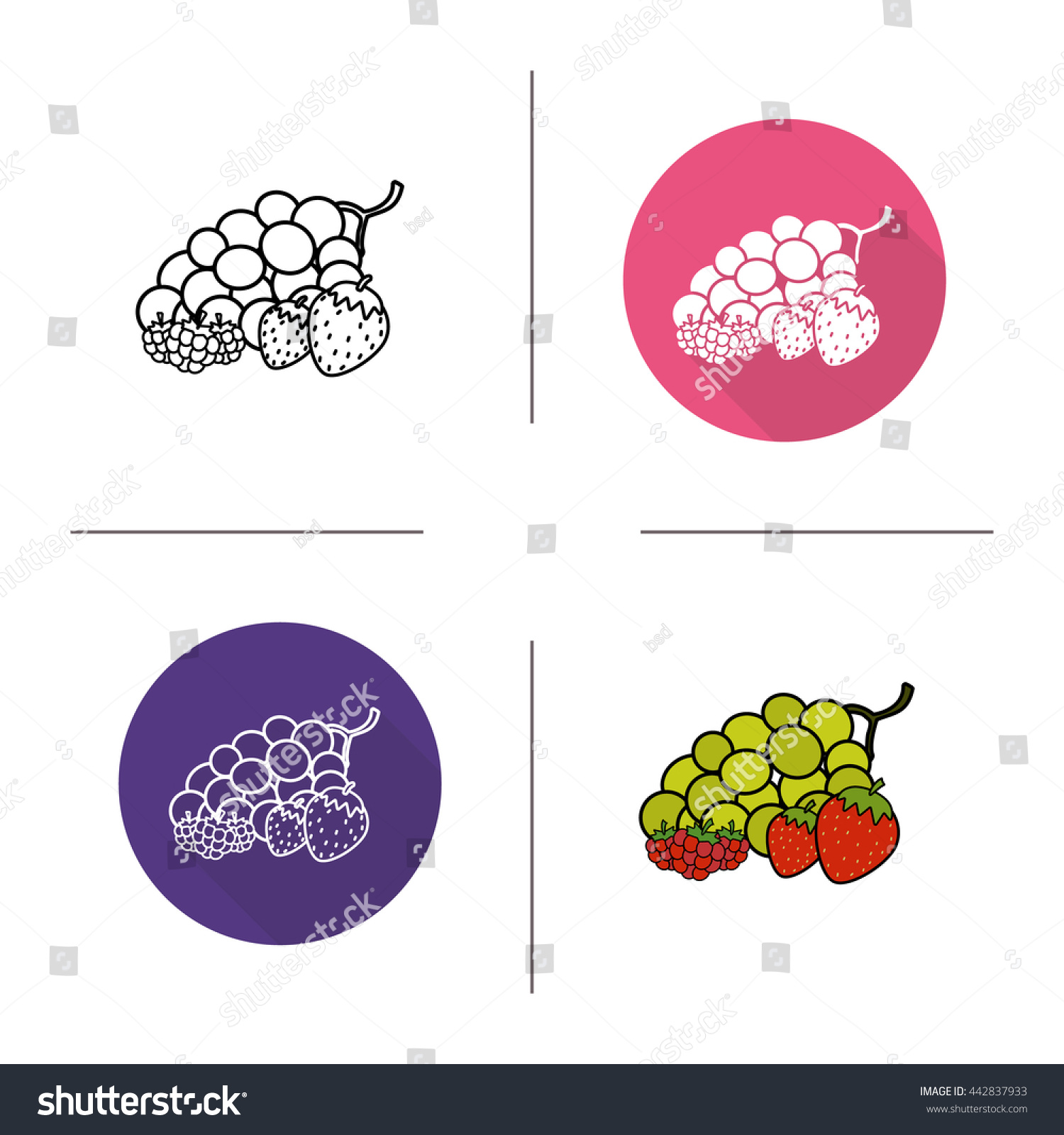 Berries Flat Design Linear Color Icons Stock Illustration 442837933 Strawberry Plant Diagram And Set Grape Raspberry In