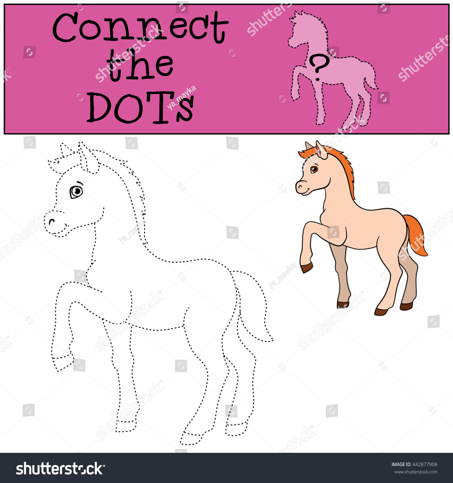 educational games kids connect dots little stock vector 442877908