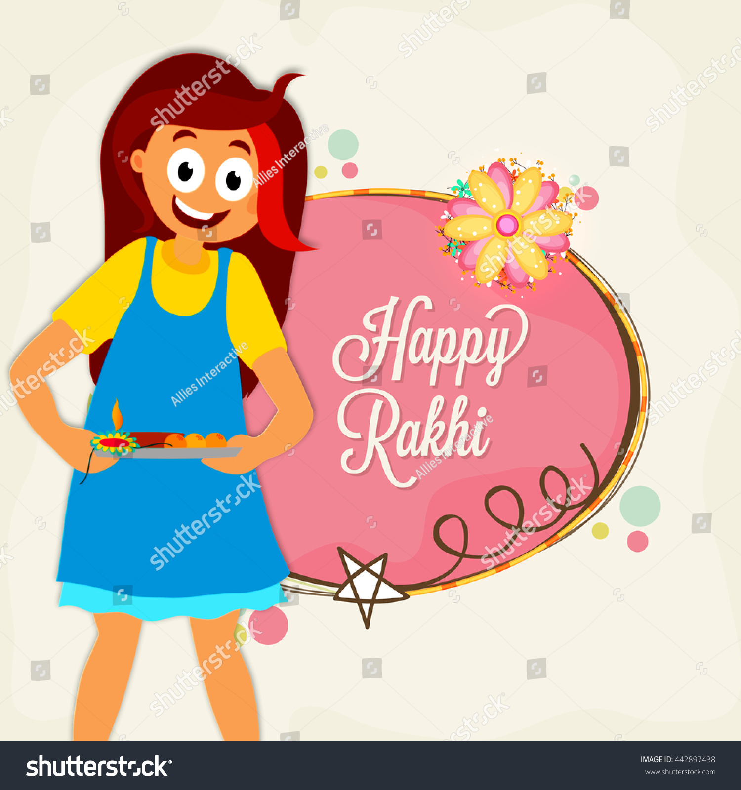 Cute happy girl preparing raksha bandhan stock vector 442897438 cute happy girl preparing for raksha bandhan festival elegant greeting card design for indian festival kristyandbryce Image collections