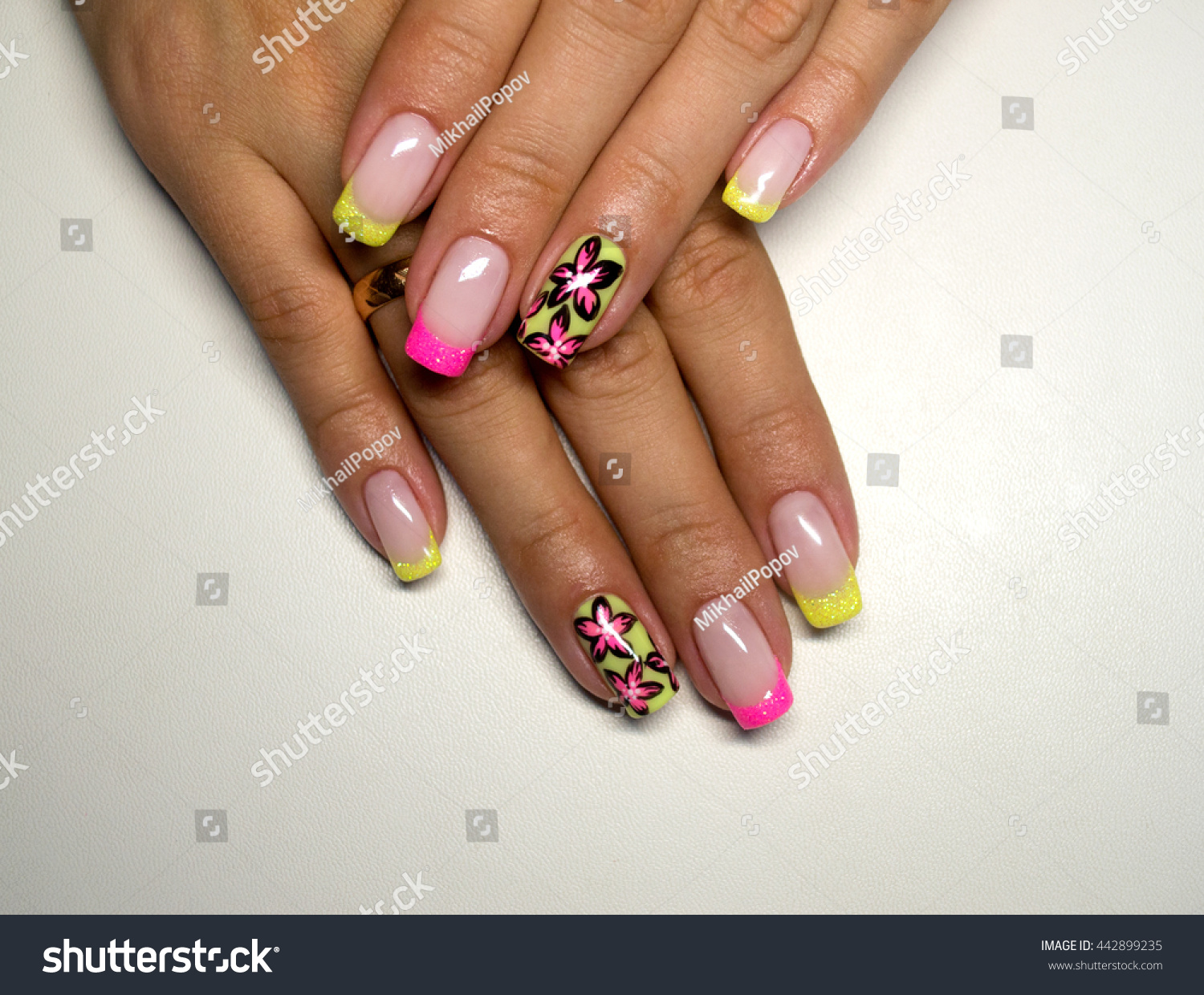 French Manicure Nail Color Painted Flower Stock Photo (Royalty Free ...
