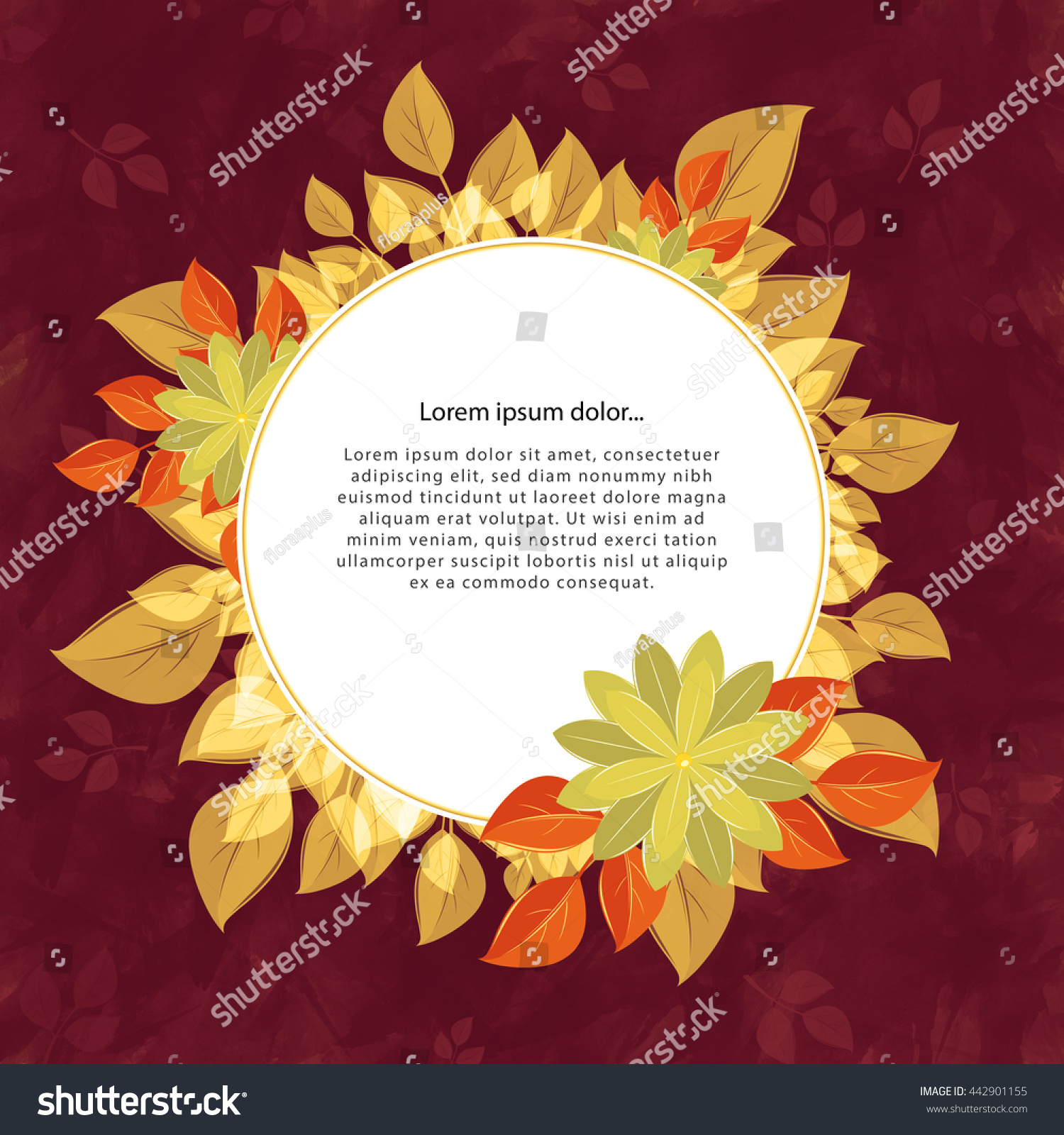 https://image.shutterstock.com/z/stock-photo-round-flower-frame-for-the-text-yellow-and-cherry-a-form-against-a-dark-background-with-leaves-442901155.jpg