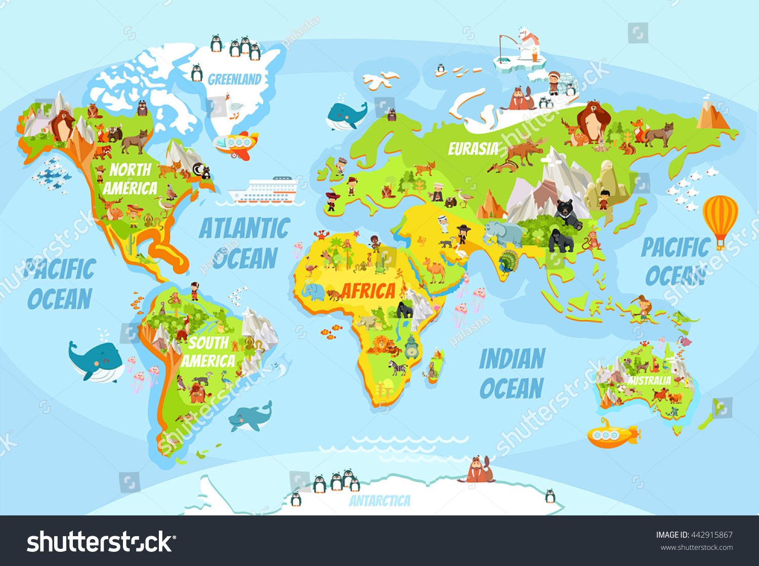 cartoon world map funny animalssea creaturesvarious stock vector