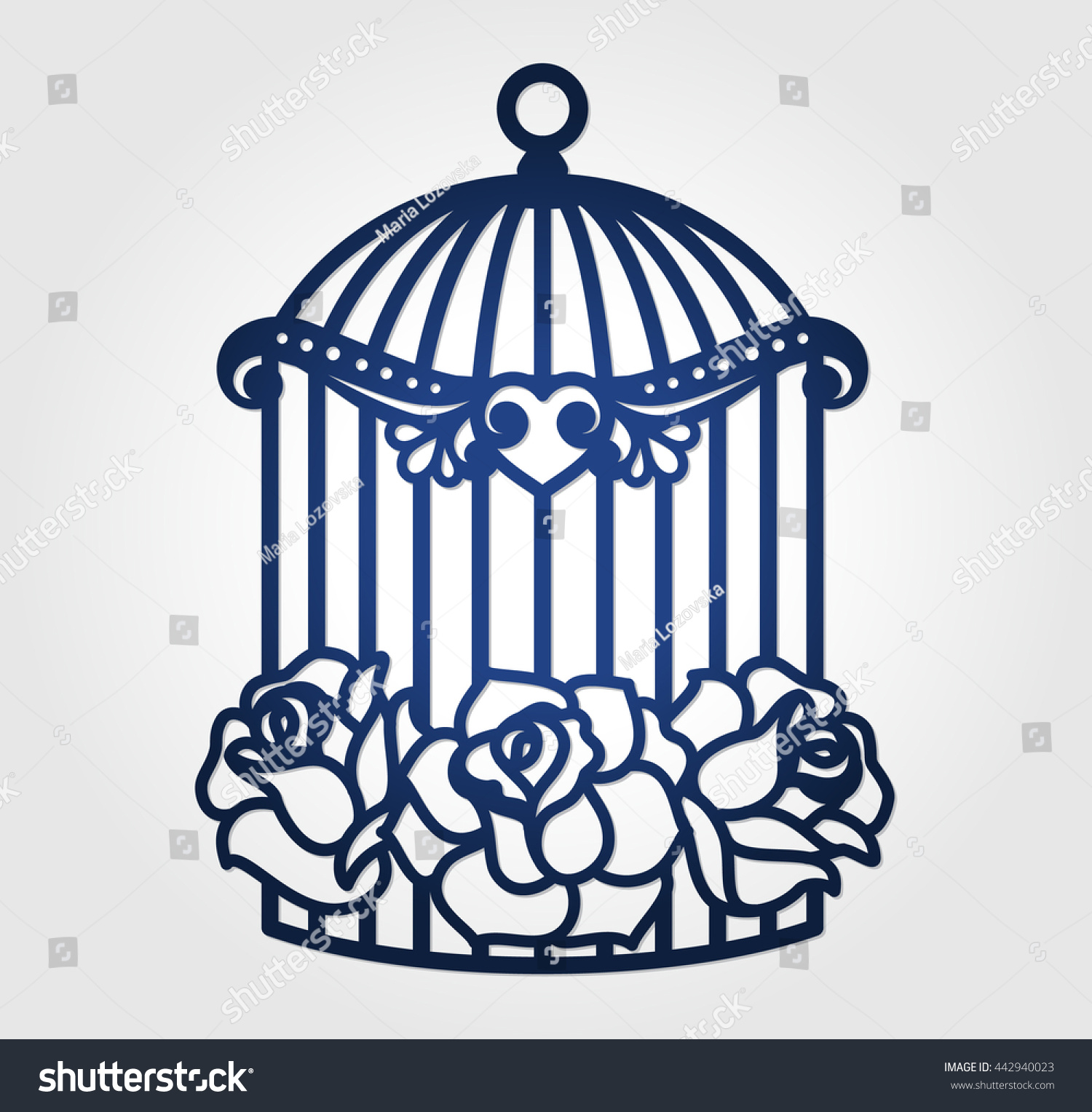 Laser cut wedding birdcage cutout paper stock vector 442940023 laser cut wedding birdcage with cutout paper roses wall decor decal for cutting cage amipublicfo Choice Image