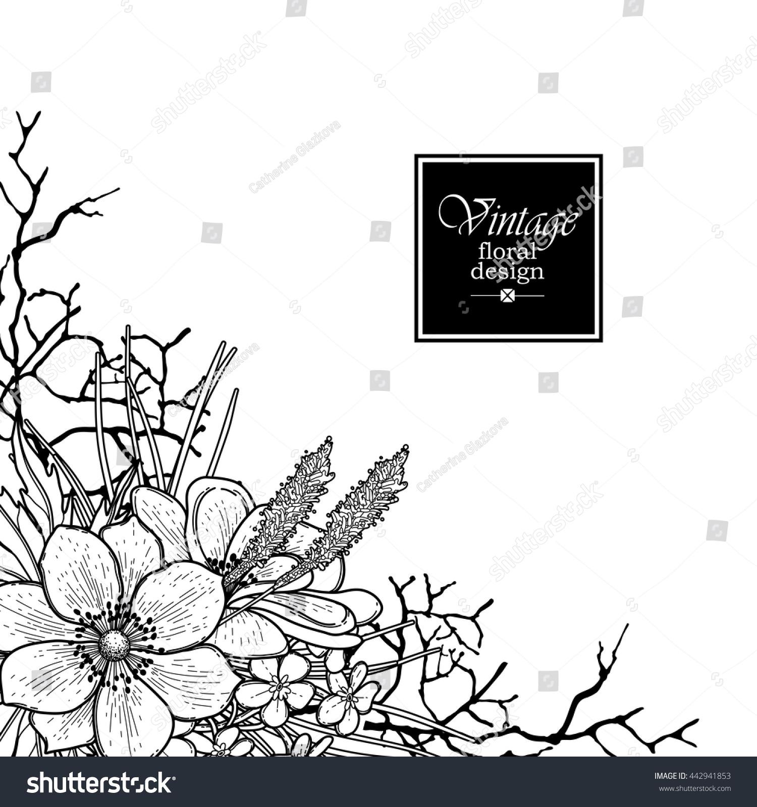 Graphic Floral Card Corner Design Vector Stock Vector