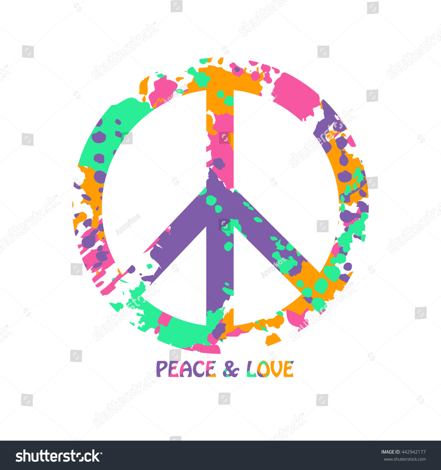 Peace sign made abstract colorful grunge stock vector 442942177 peace sign made from abstract colorful grunge paintbrush splashes isolated peace and love hippie symbol biocorpaavc Images