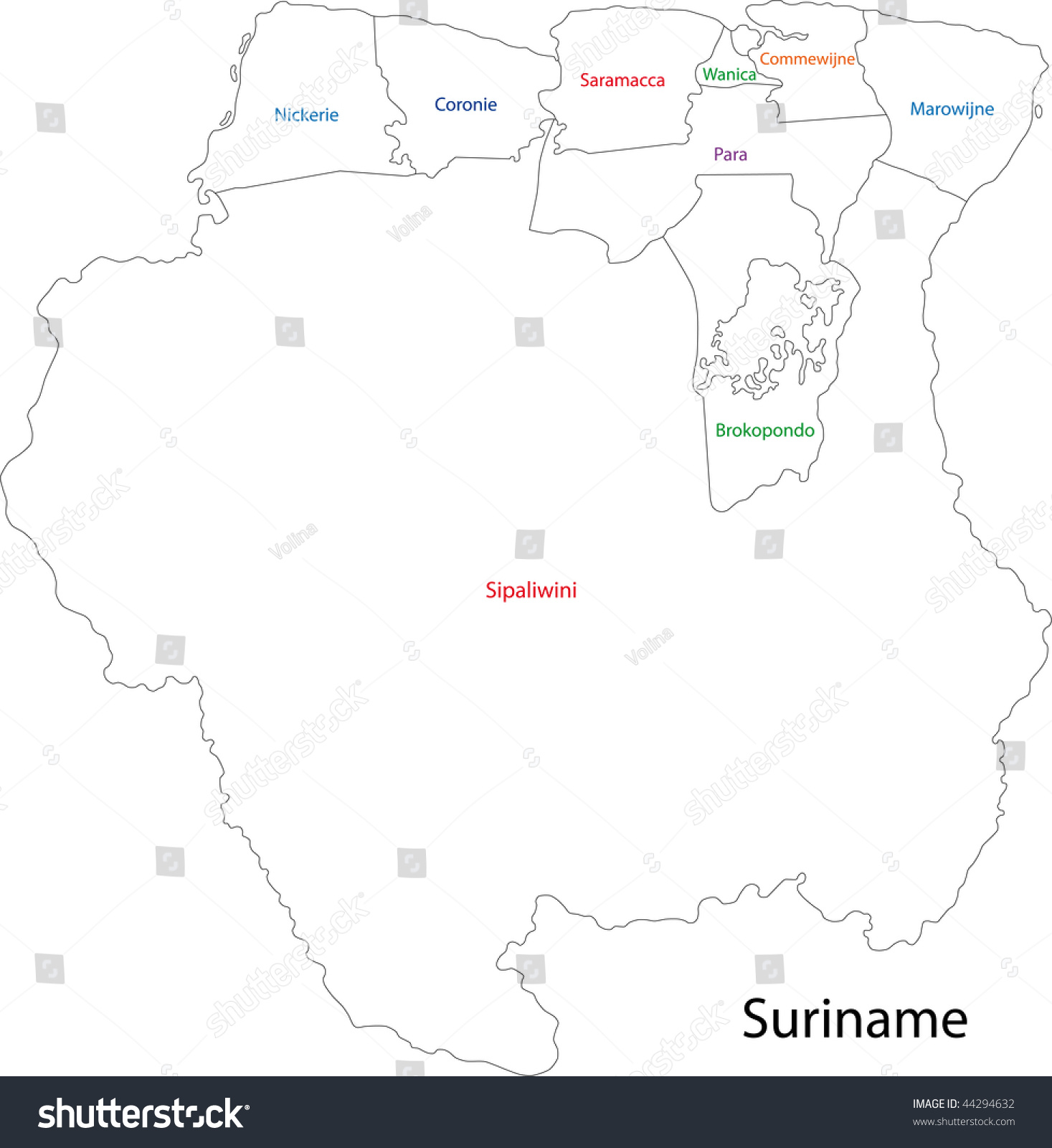 Administrative Divisions Suriname Stock Illustration 44294632