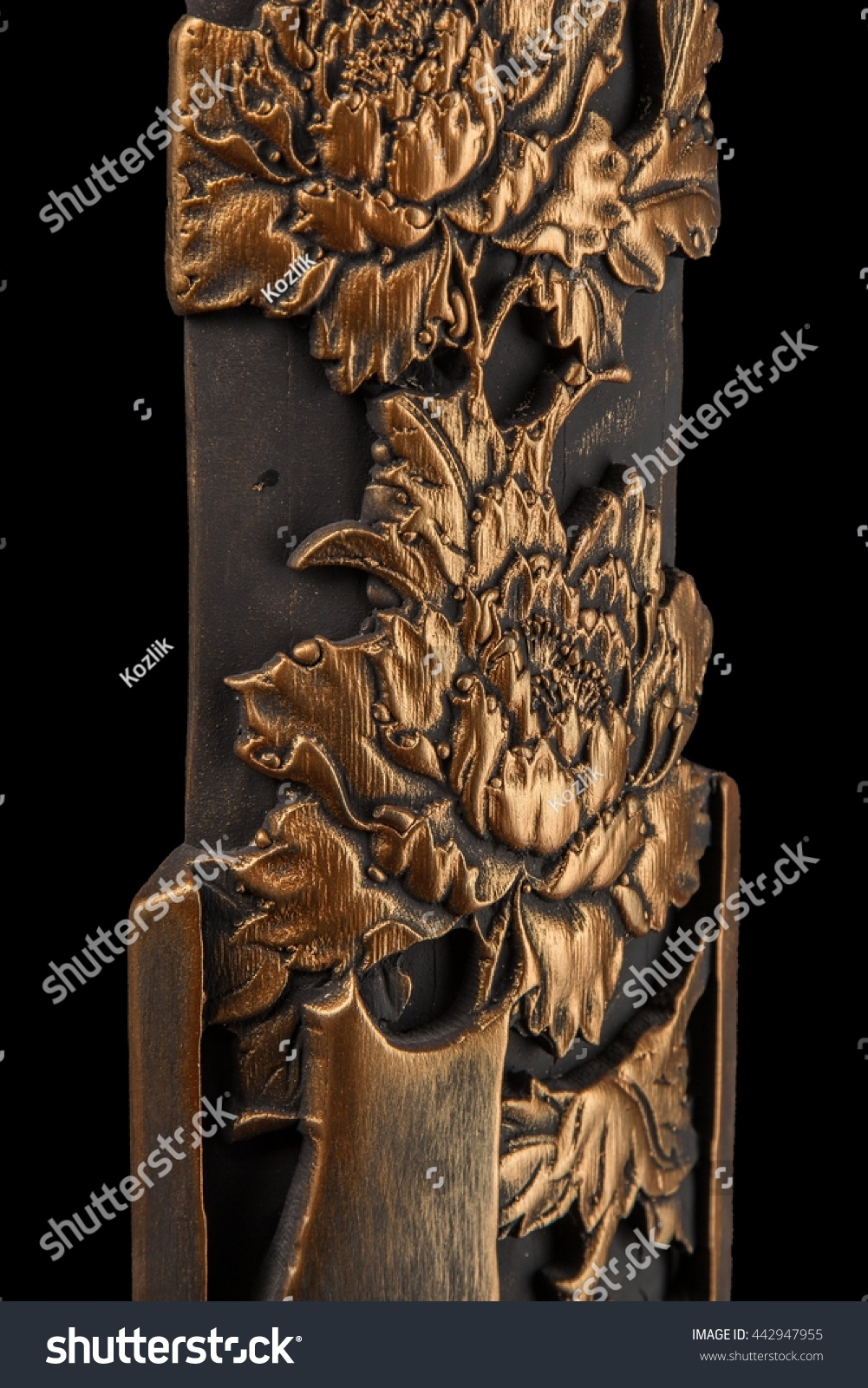 Bronze Plaster Painting Floral Patterns Carved Stock Photo