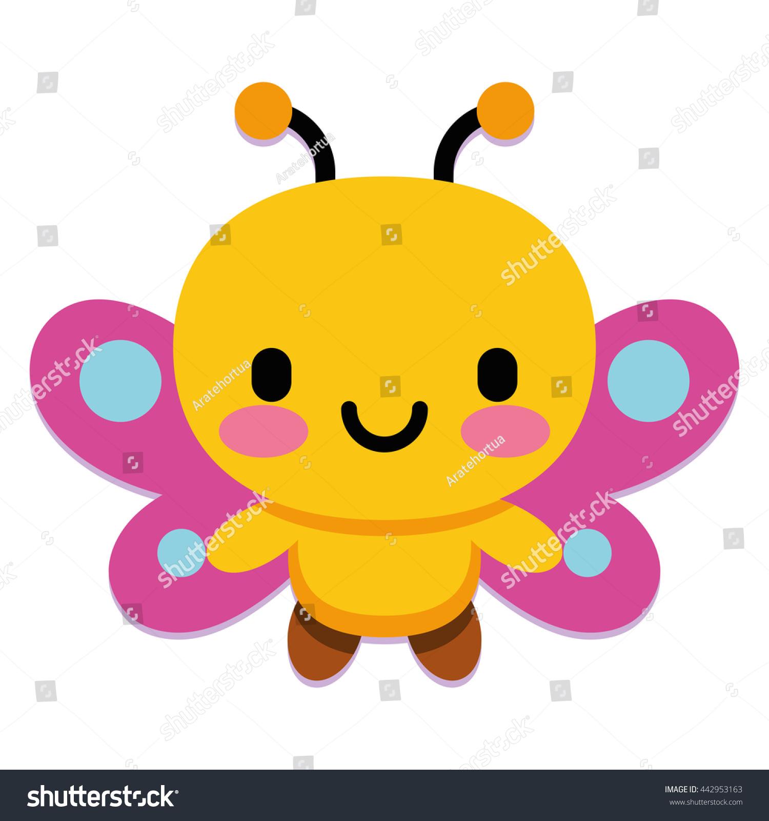 vector cute cartoon butterfly isolated on stock vector 442953163