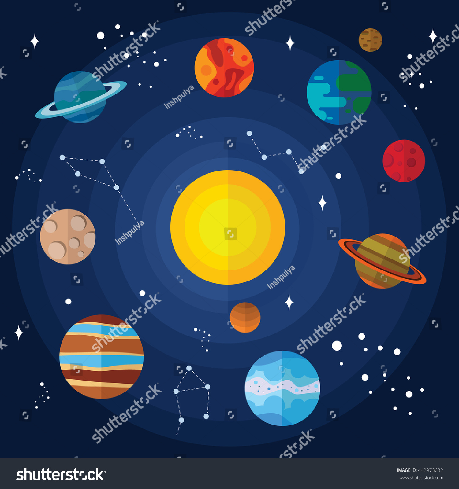 Collection Of Vector Images Of Planets In The Solar System With